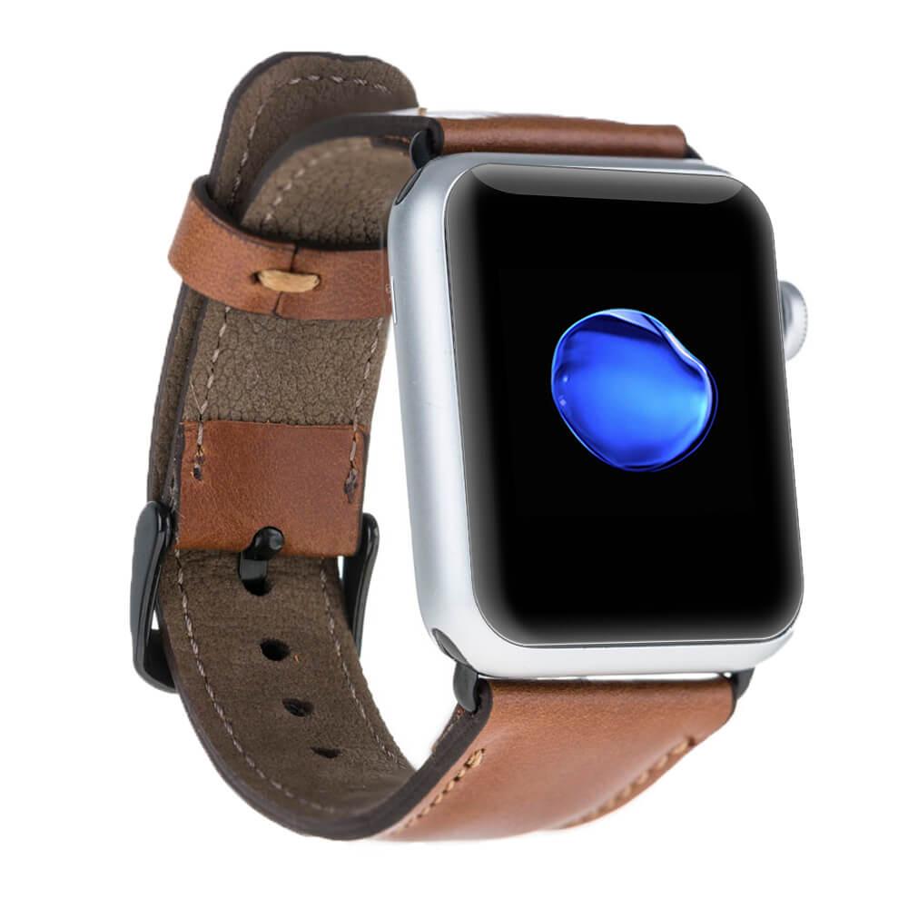 Lederarmband für das Apple Watch Series 1-4 I Cognac Braun 42mm/44mm mit Space Grau Connectoren