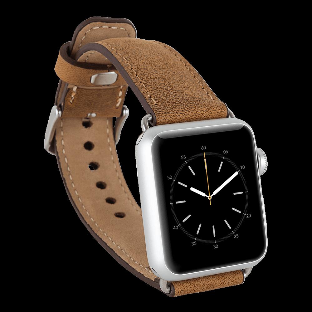 Lederarmband für das Apple Watch Series 1-4 I Camel Braun 42mm/44mm mit silbernen Connectoren