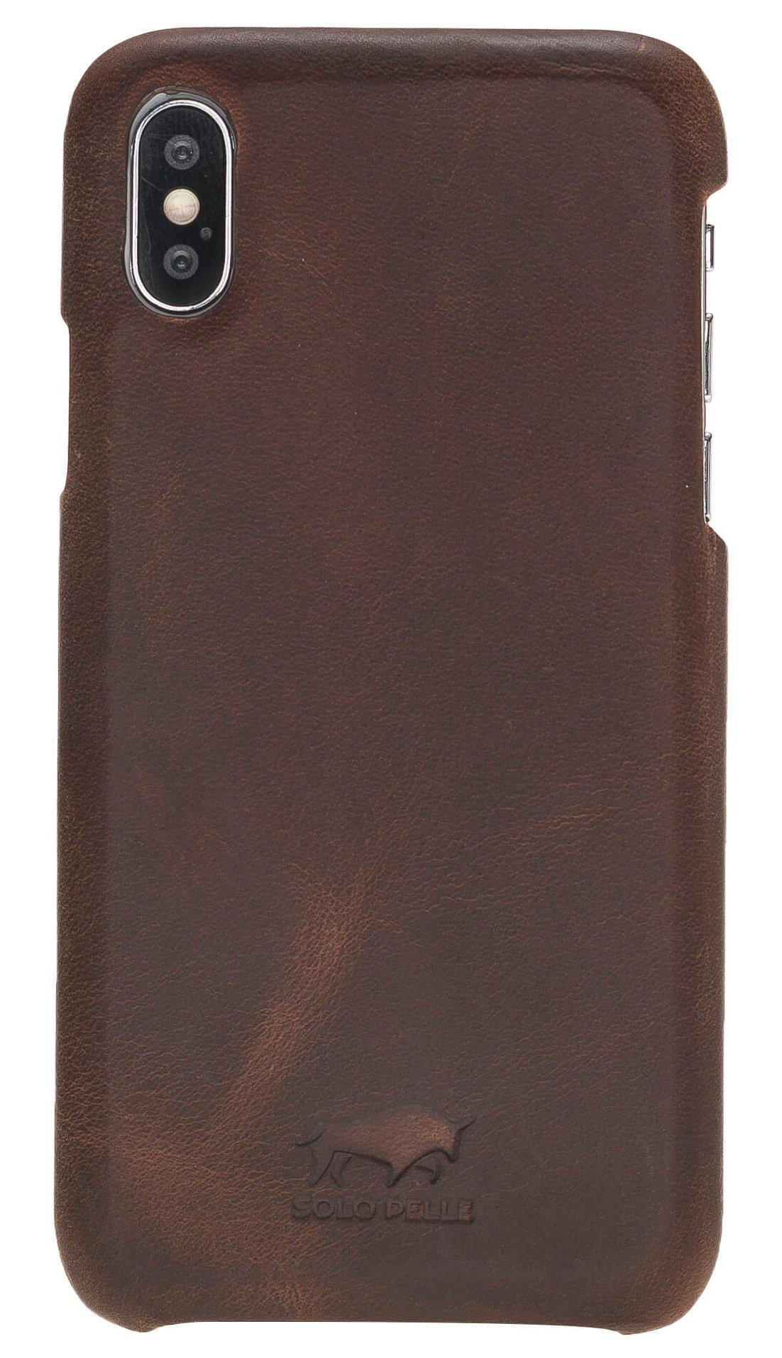"Lederhülle für das iPhone XS/X Backcover - ""Princeton"" - in Vintage Braun"