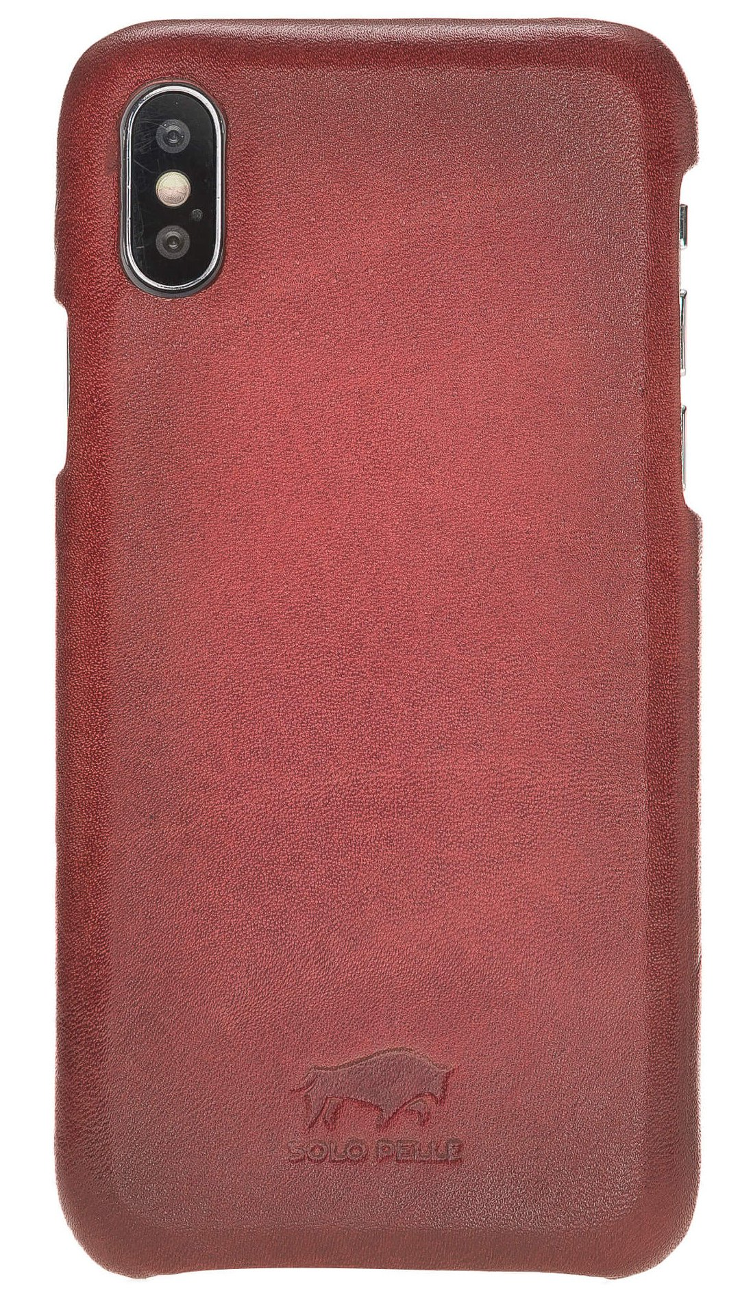 "Lederhülle für das iPhone XS/X Ledertasche Backcover - ""Princeton"" - in Rot Burned"