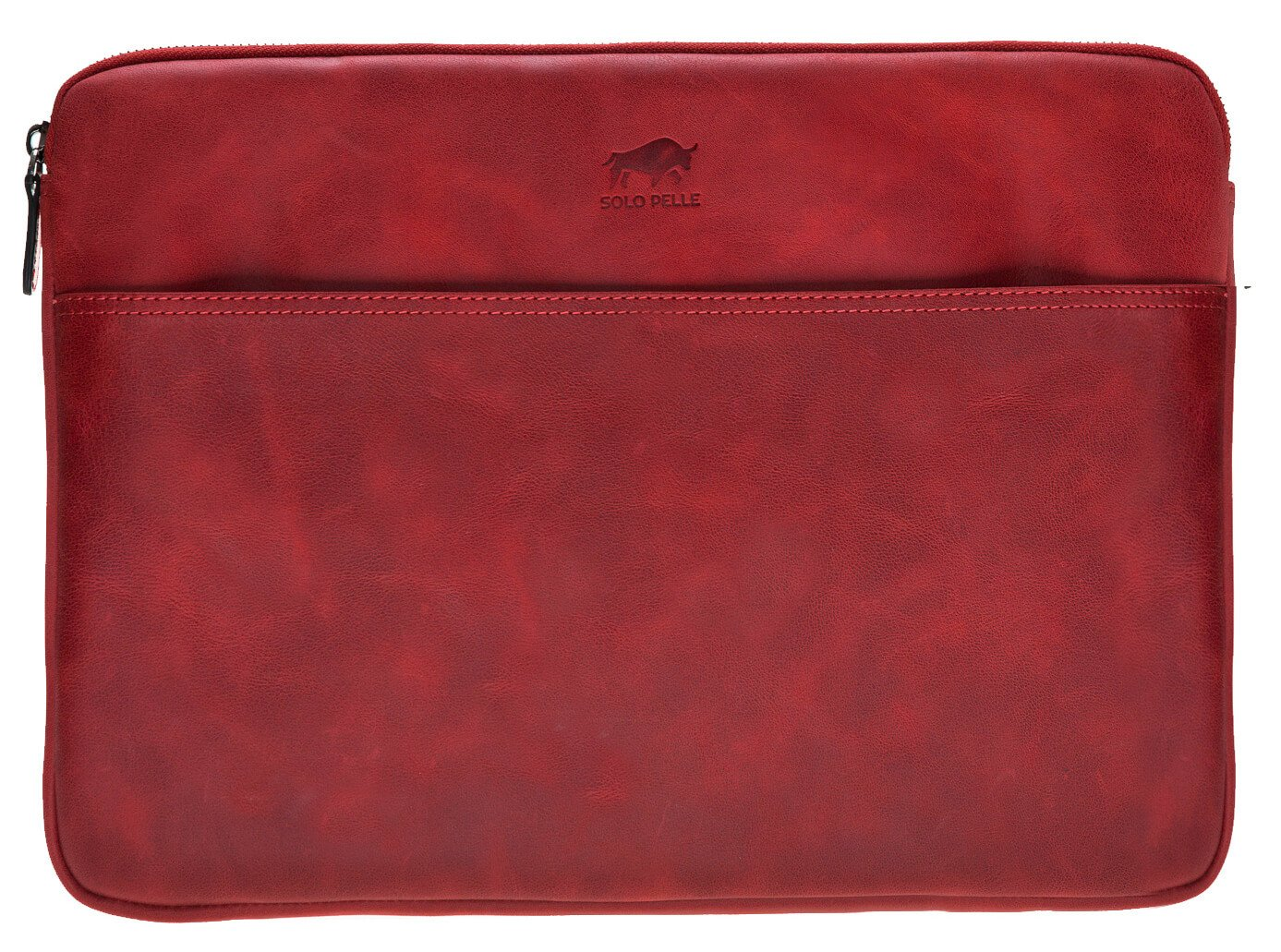 Solo Pelle Ledertasche für das Apple MacBook Pro 15 Zoll Lederhülle Case Hülle Awenta Tasche aus echtem Leder Rot Burned