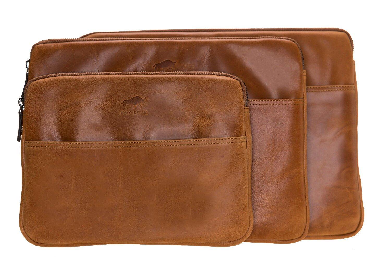 Solo Pelle Ledertasche für das Apple MacBook Air 11 Zoll iPad Pro 10,5 & 11 Zoll und auch 9,7 Zoll Lederhülle Case Hülle Awenta aus echtem Leder in Cognac Braun