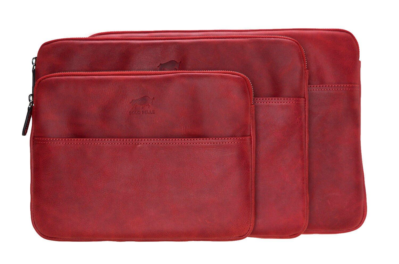 Solo Pelle Ledertasche für das Apple MacBook Pro und Air 13 Zoll, 12 Zoll & iPad Pro 12,9 Zoll Lederhülle Case Hülle Awenta aus echtem Leder in Rot Burned