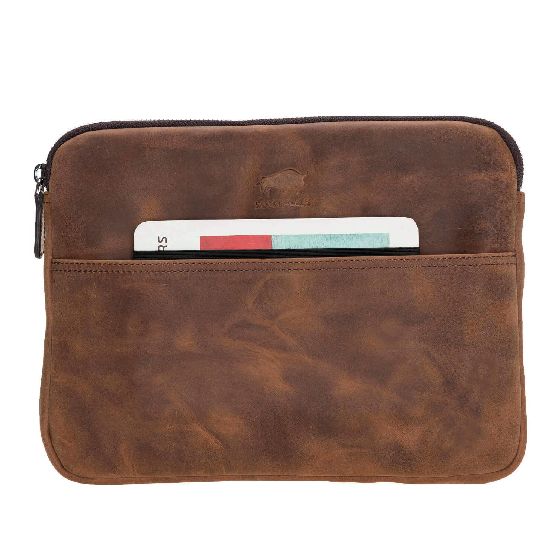 Solo Pelle Ledertasche für das Apple MacBook Air 11 Zoll & iPad Pro 10,5 & 11 Zoll und auch 9,7 Zoll Lederhülle Case Hülle Awenta aus echtem Leder in Vintage Braun