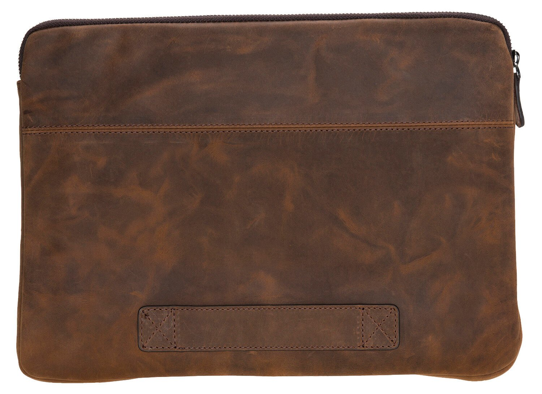 """Ledertasche für das Apple MacBook Pro 15/16 Zoll """"Awenta"""" Tasche aus echtem Leder in Vintage Braun"""