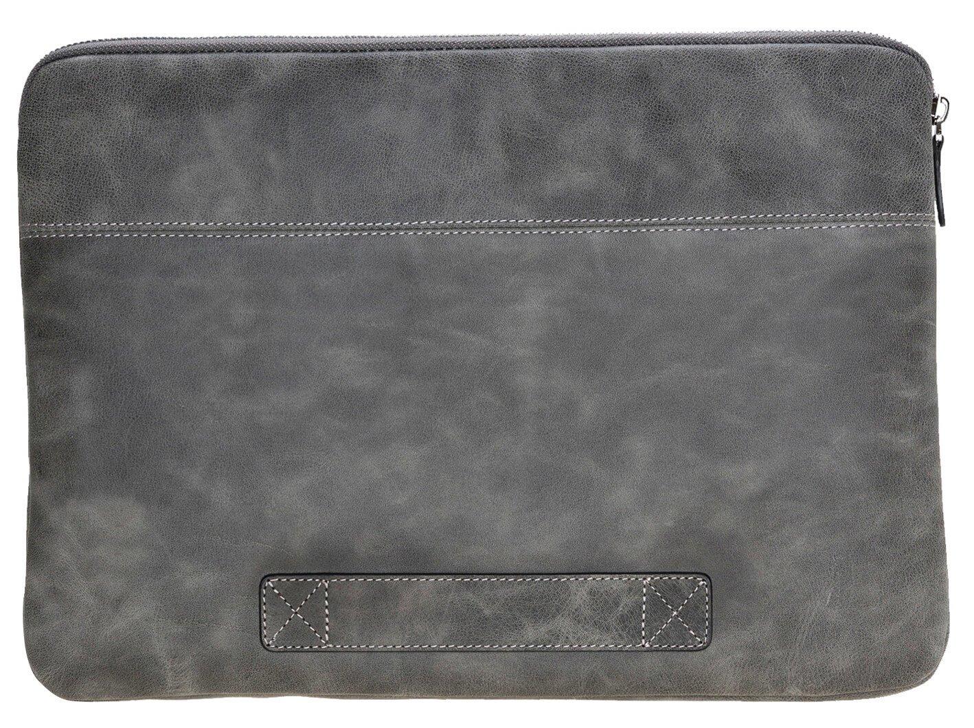 Solo Pelle Ledertasche für das Apple MacBook Pro und Air 13 Zoll, 12 Zoll & iPad Pro 12,9 Zoll Lederhülle Case Hülle Awenta aus echtem Leder in Steingrau