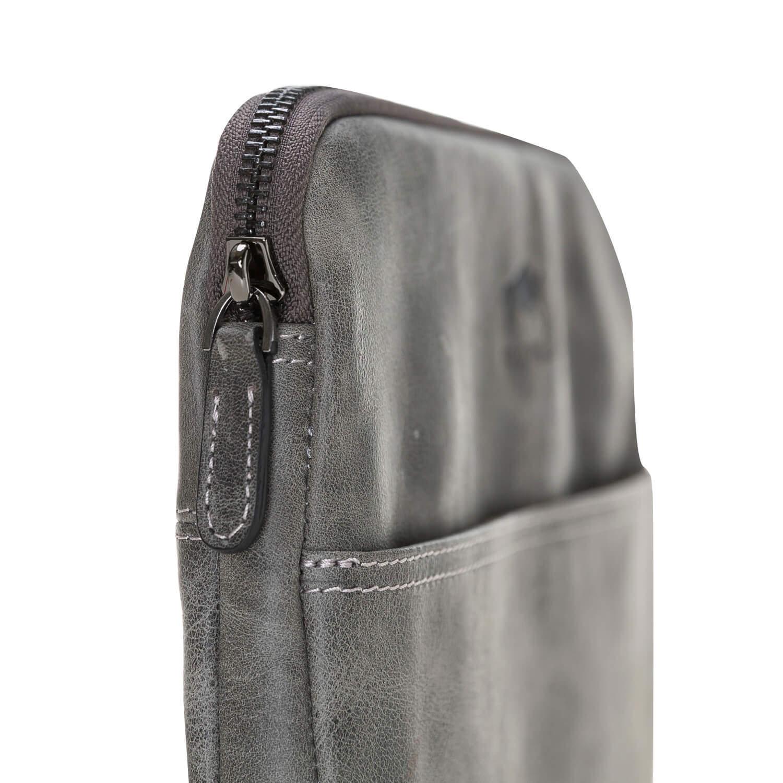 """Ledertasche für das Apple MacBook Pro 15 Zoll """"Awenta"""" Tasche aus echtem Leder in Steingrau"""