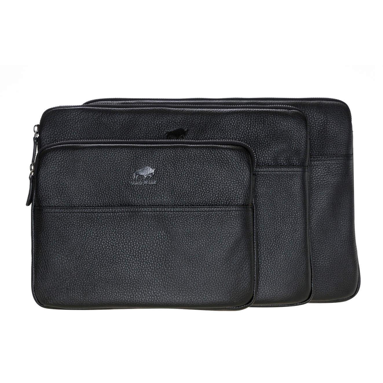 Solo Pelle Ledertasche für das Apple MacBook Air 11 Zoll & iPad Pro 10,5 & 11 Zoll und auch 9,7 Zoll Lederhülle Case Hülle Awenta aus echtem Leder in Schwarz