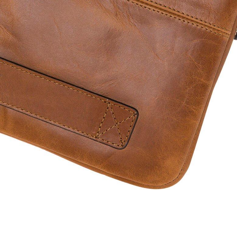"""Ledertasche für das Apple MacBook Pro 15 Zoll """"Awenta"""" Tasche aus echtem Leder in Cognac Braun"""