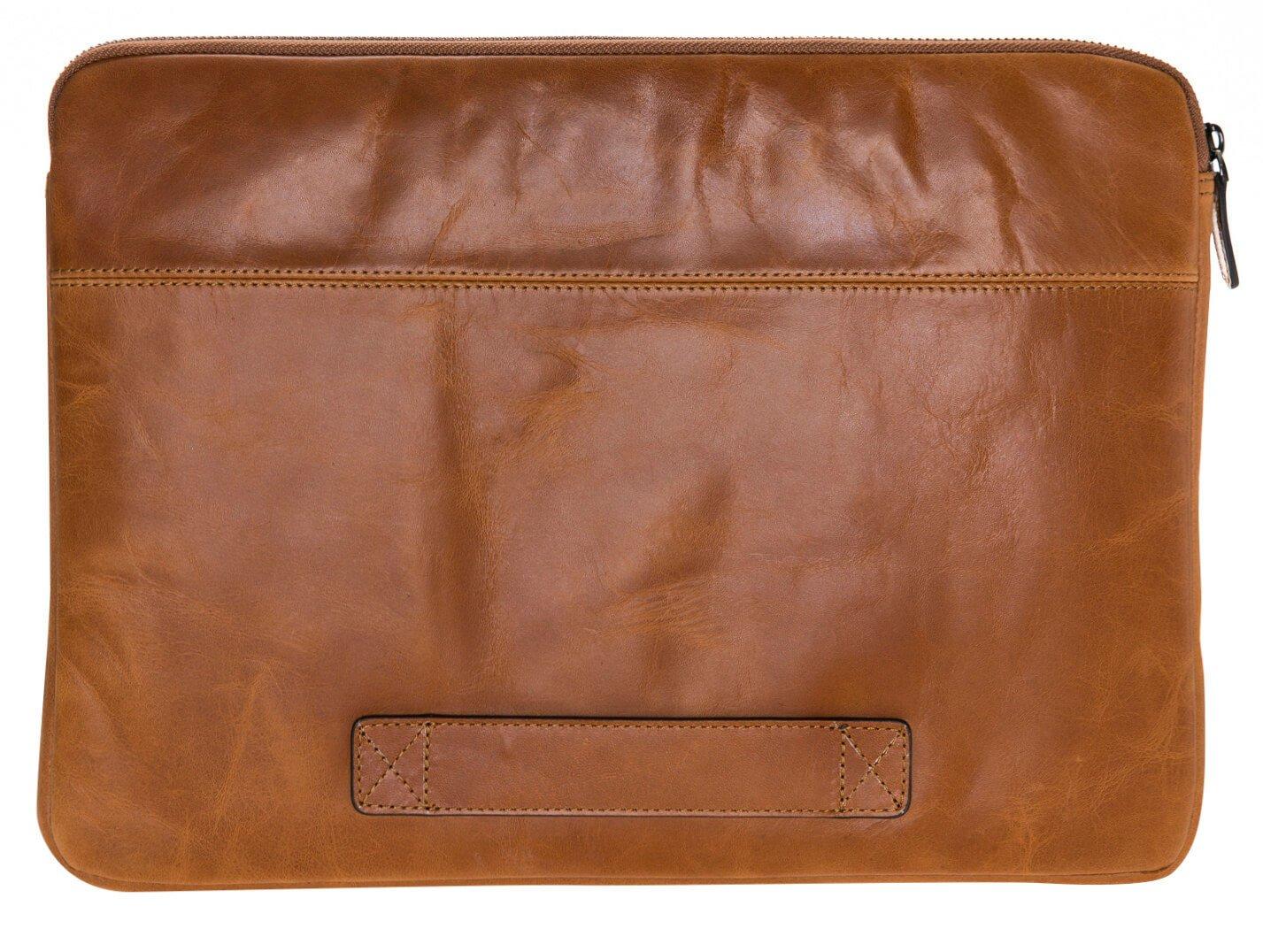"""Ledertasche für das Apple MacBook Pro 15/16 Zoll """"Awenta"""" Tasche aus echtem Leder in Cognac Braun"""