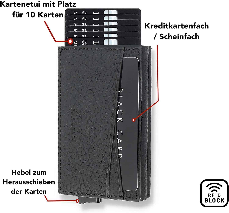 """Kreditkartenetui """"Mech"""" mit RFID Schutz in Schwarz"""