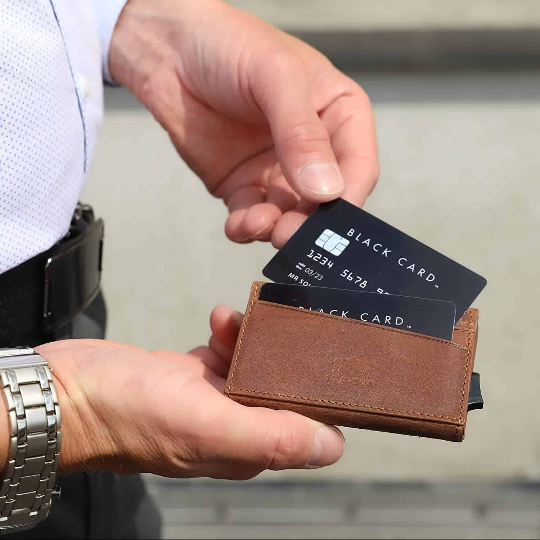 """Kreditkartenetui """"Mech"""" mit RFID Schutz in Vintage Braun"""
