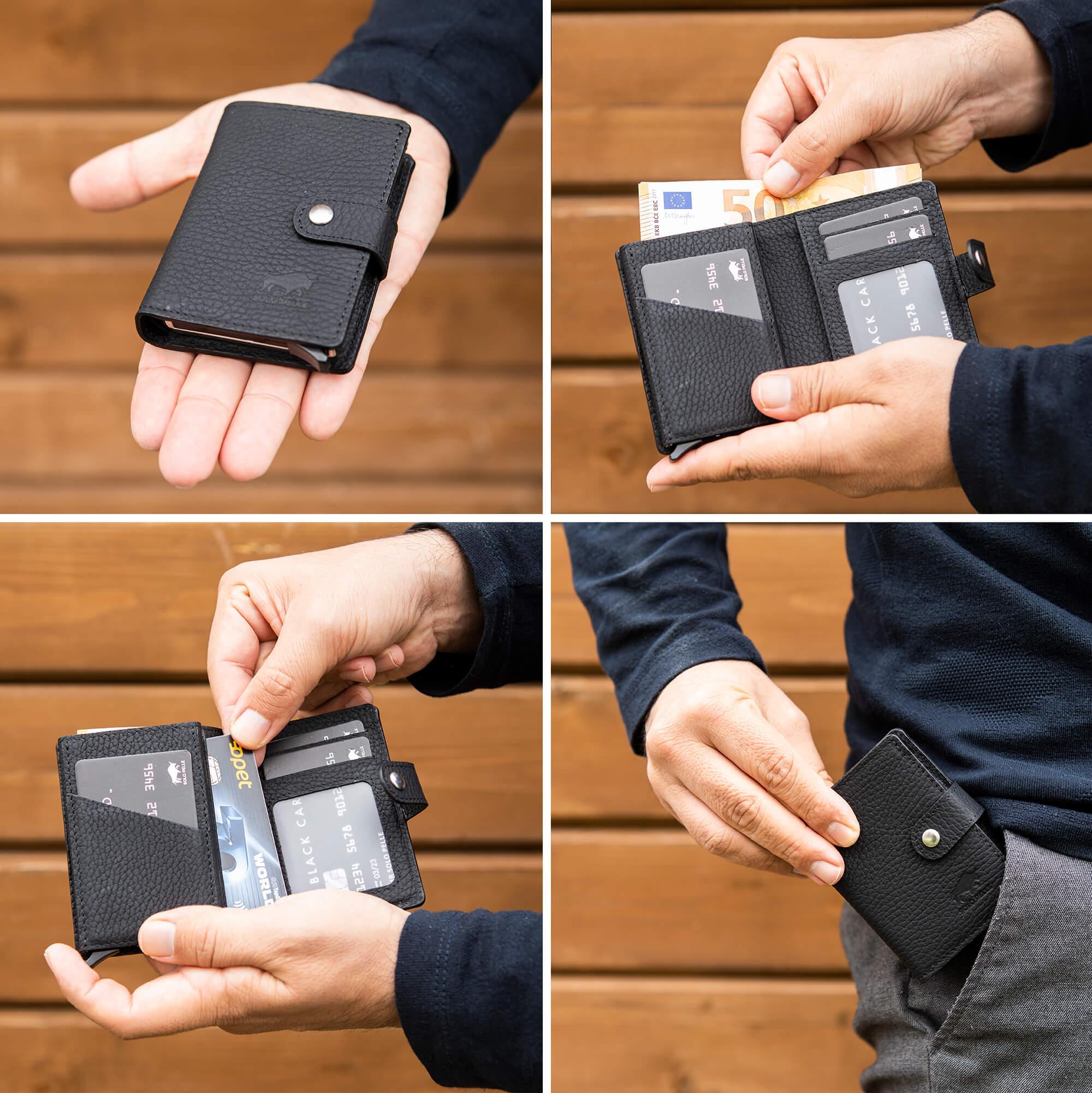 Leder Geldbörse Q-Wallet mit integriertem Kartenetui für 15 Karten + Geldscheine geeignet | Kreditkartenetui mit RFID (Steingrau)