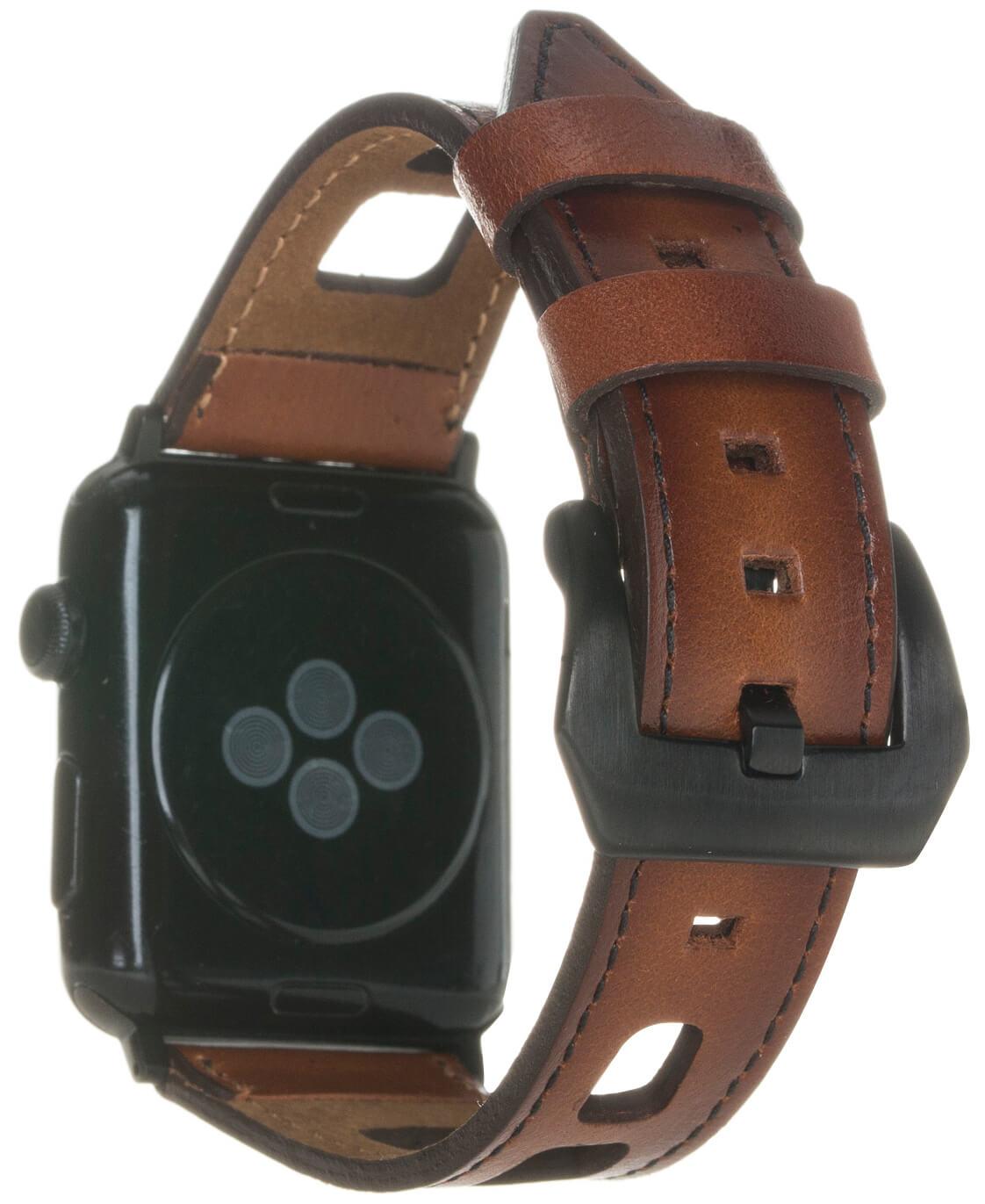 Armband Square auch für Überlänge kompatibel mit der Apple Watch Lederarmband 42mm & 44mm Echtes Leder Uhrenarmband für Series 4, Series 3, Series 2, Series 1 in Cognac Braun Burned