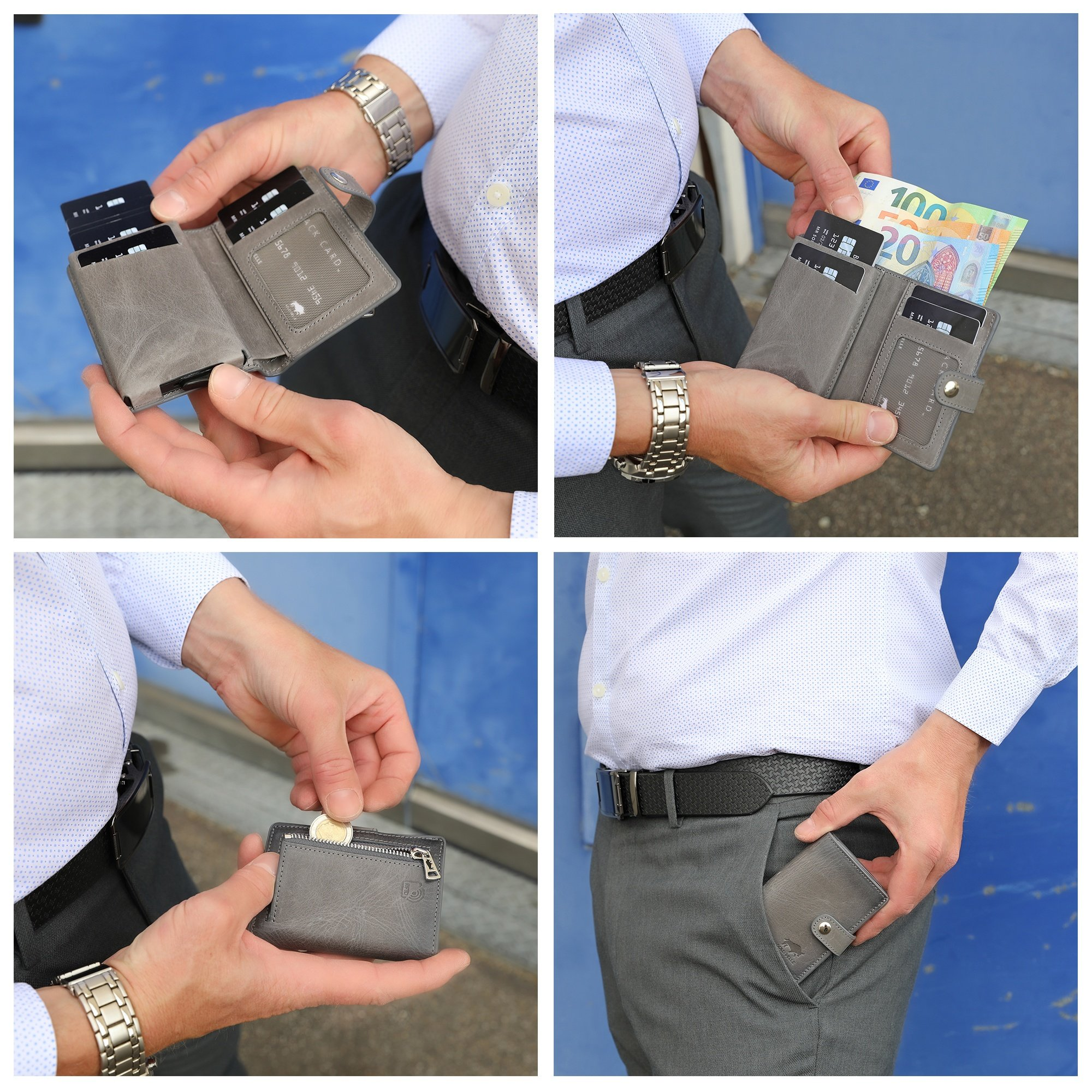 Solo Pelle Geldbörse für 15 Karten + Geldscheine + Kleingeld geeignet | Kreditkartenetui Kartenetui mit RFID aus echtem Leder Q-Wallet (Steingrau + Kleingeldfach)
