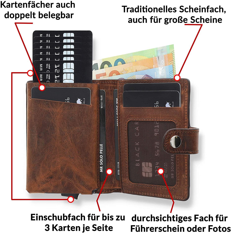 Solo Pelle Slim Wallet für 15 Karten + Geldscheine + Kleingeld geeignet | Kreditkartenetui Kartenetui Geldbörse mit RFID aus echtem Leder Q-Wallet (Vintage Braun + Kleingeldfach)