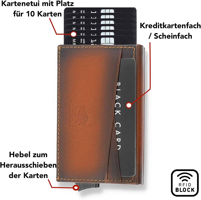 """Kreditkartenetui """"Mech"""" mit RFID Schutz & Kleingeldfach in Cognac Braun Burned"""