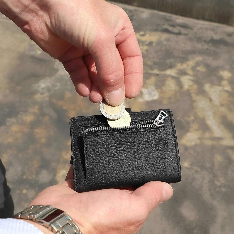 Solo Pelle Geldbörse für 15 Karten + Geldscheine + Kleingeld geeignet | Kreditkartenetui Kartenetui mit RFID aus echtem Leder Q-Wallet (Matt Schwarz + Kleingeldfach)