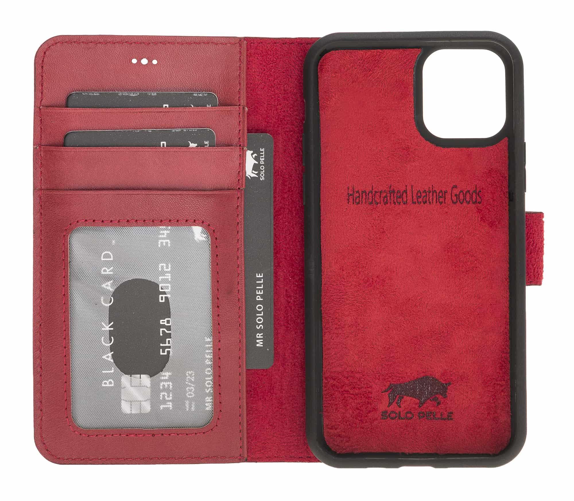 Solo Pelle Lederhülle kompatibel für iPhone 11 Pro Max 6.5 Zoll abnehmbare Hülle (2in1) inkl. Kartenfächer für das original Apple iPhone 11 Pro Max (Rot Burned)