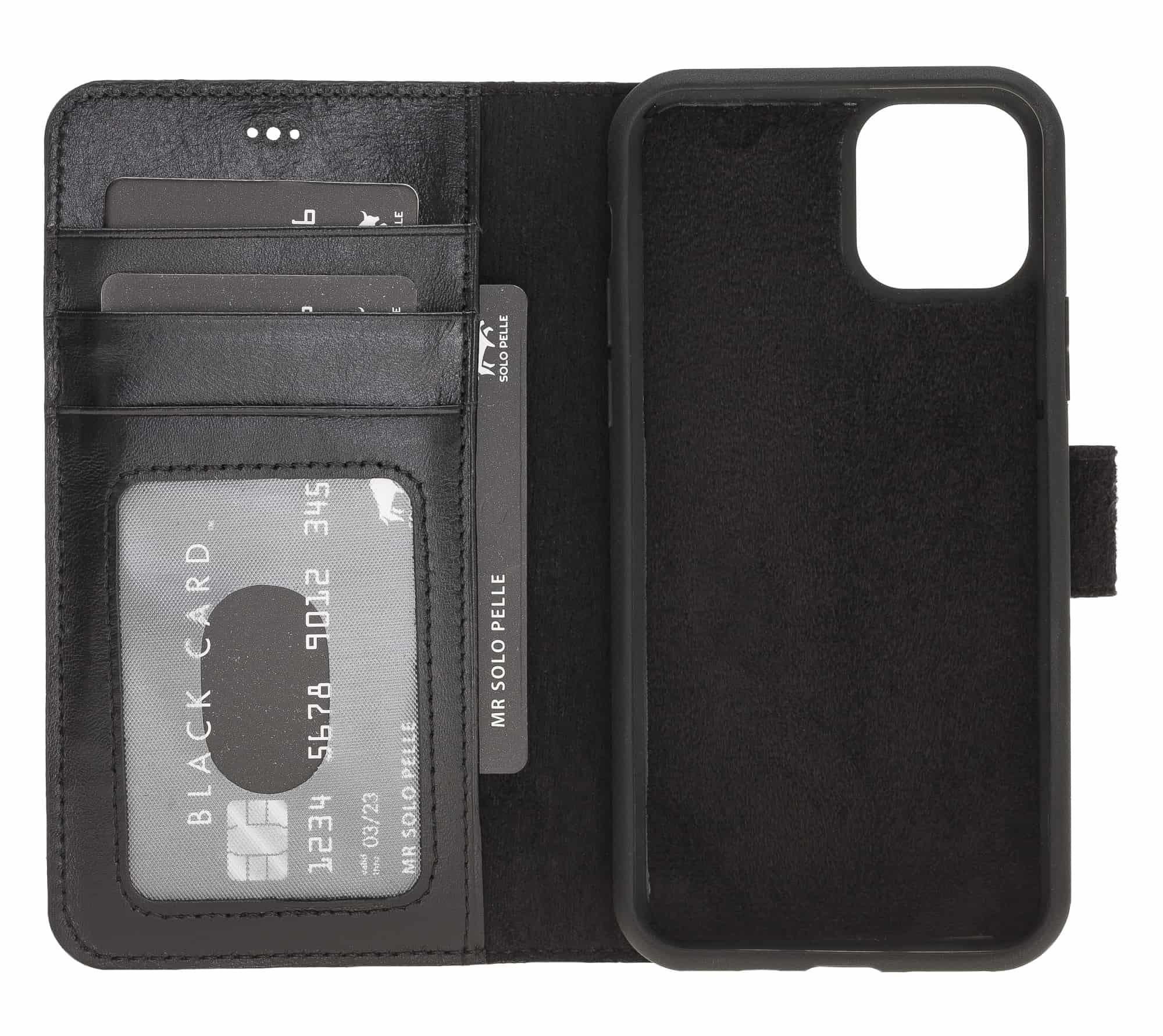 Solo Pelle Lederhülle kompatibel für iPhone 11 Pro Max 6.5 Zoll abnehmbare Hülle (2in1) inkl. Kartenfächer für das original Apple iPhone 11 Pro Max (Schwarz)