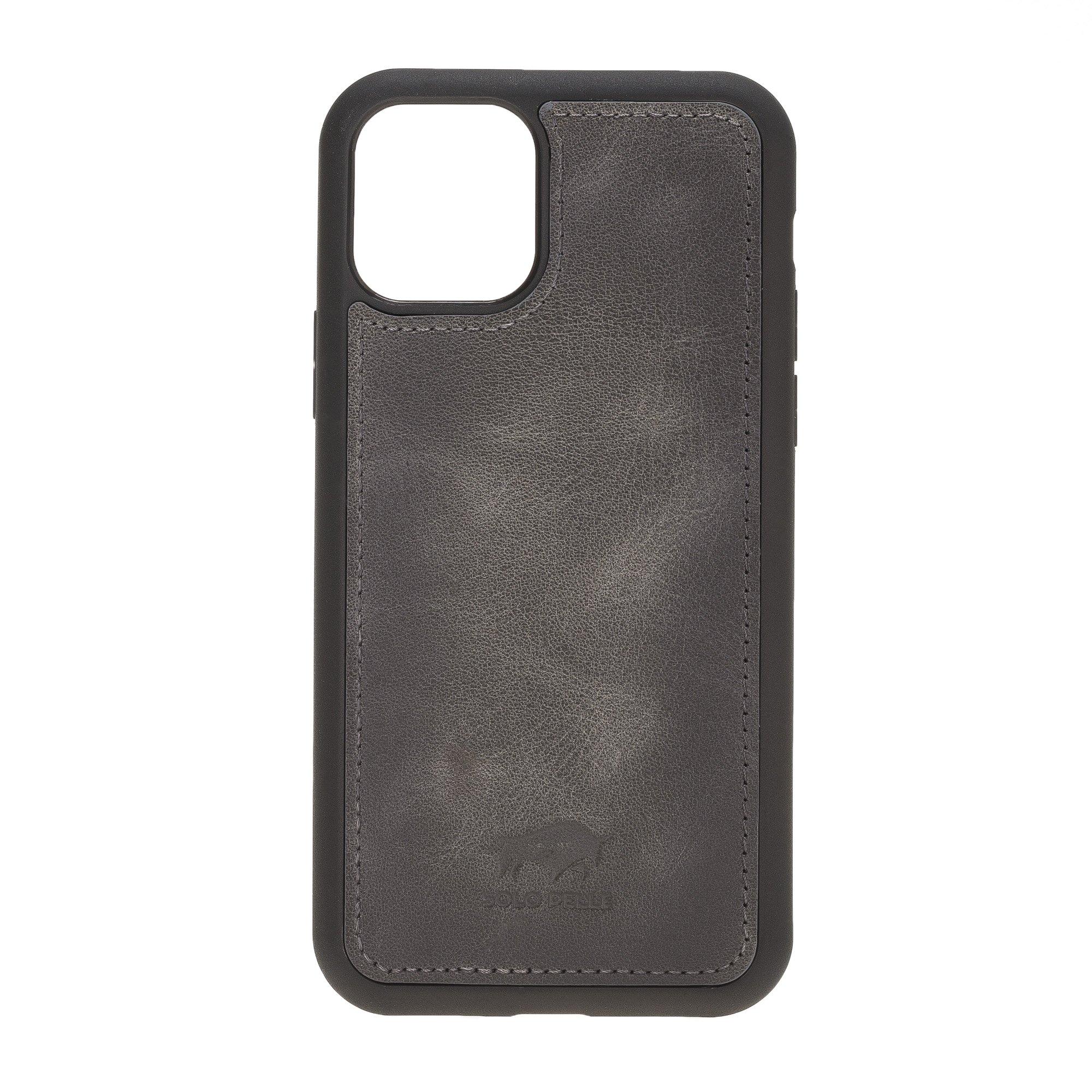 Solo Pelle Lederhülle kompatibel für iPhone 11 in 6.1 Zoll abnehmbare Hülle (2in1) inkl. Kartenfächer für das original Apple iPhone 11 (Steingrau Burned)