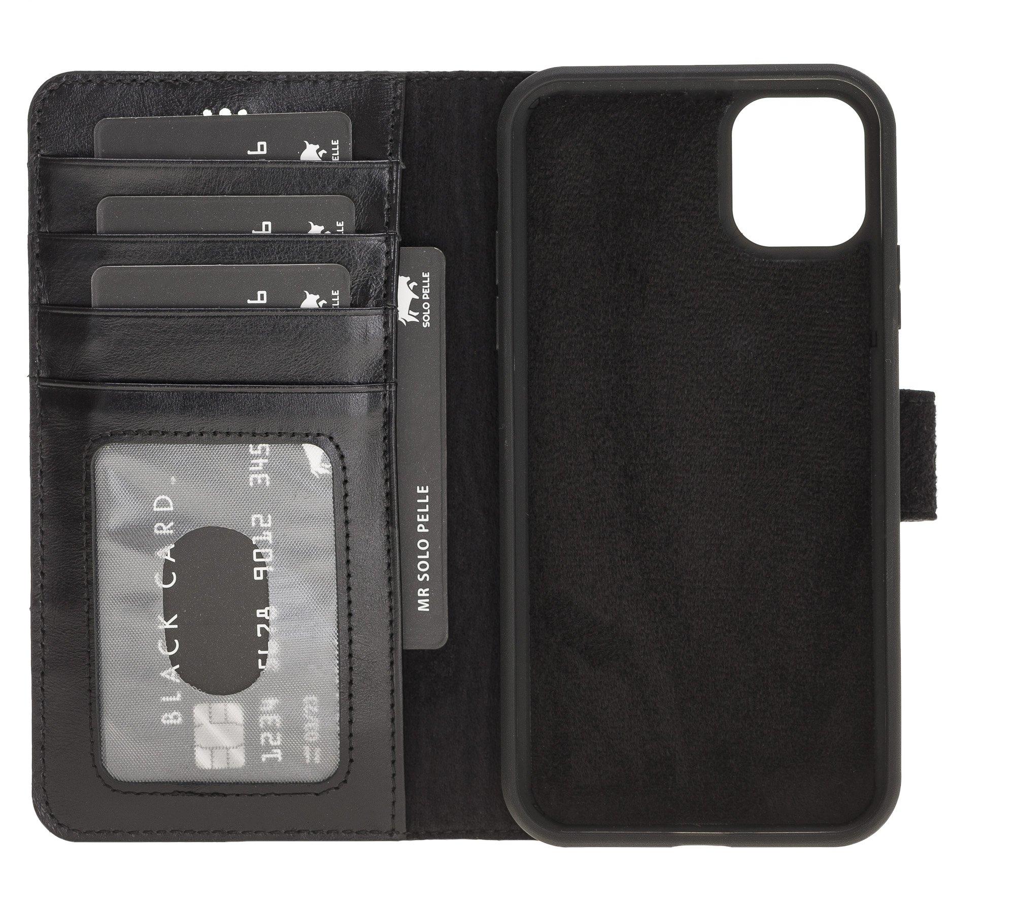 Solo Pelle Lederhülle kompatibel für iPhone 11 in 6.1 Zoll abnehmbare Hülle (2in1) inkl. Kartenfächer für das original Apple iPhone 11 (Schwarz)