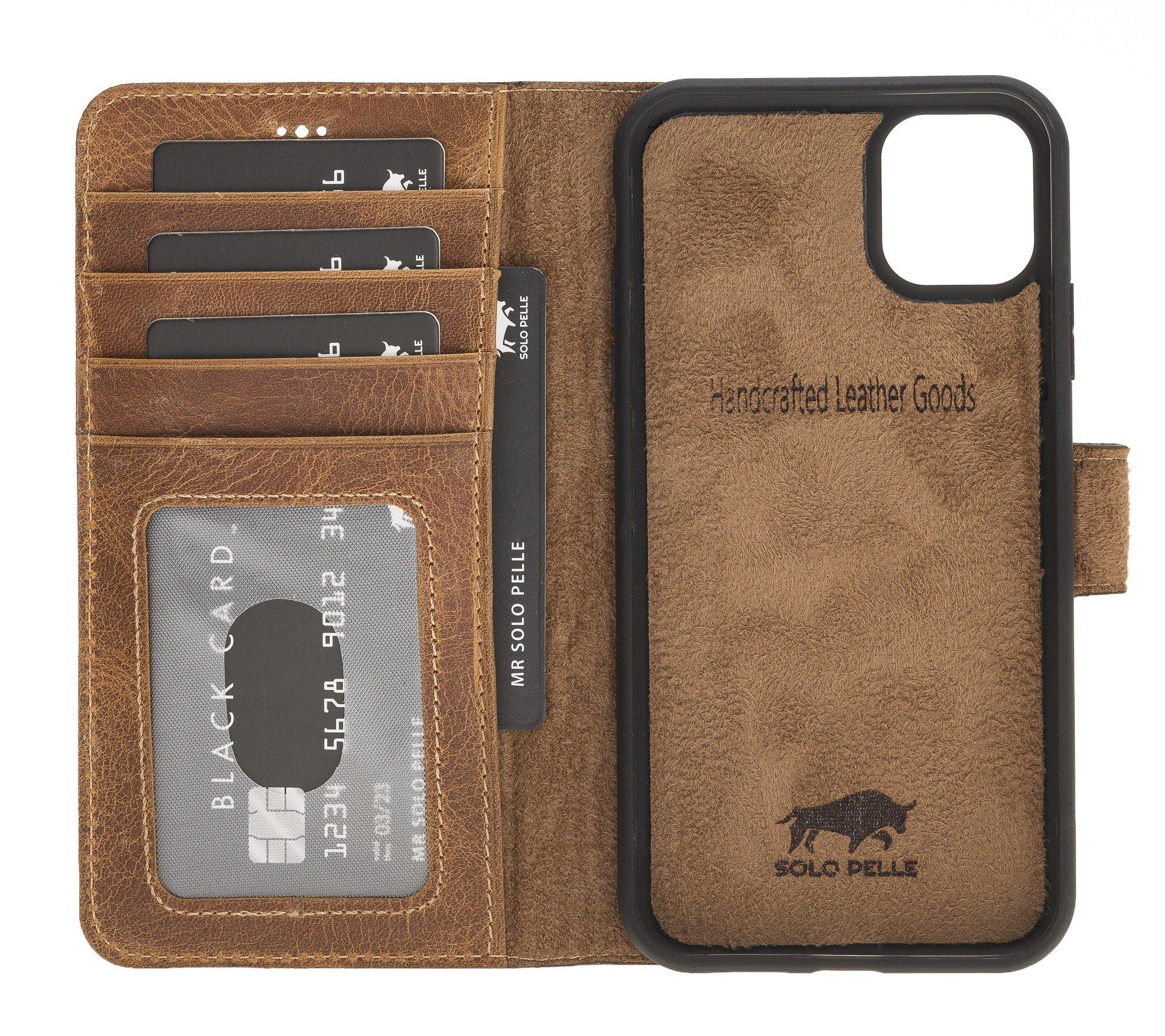 Solo Pelle Lederhülle kompatibel für iPhone 11 in 6.1 Zoll abnehmbare Hülle (2in1) inkl. Kartenfächer für das original Apple iPhone 11 (Camel Braun)