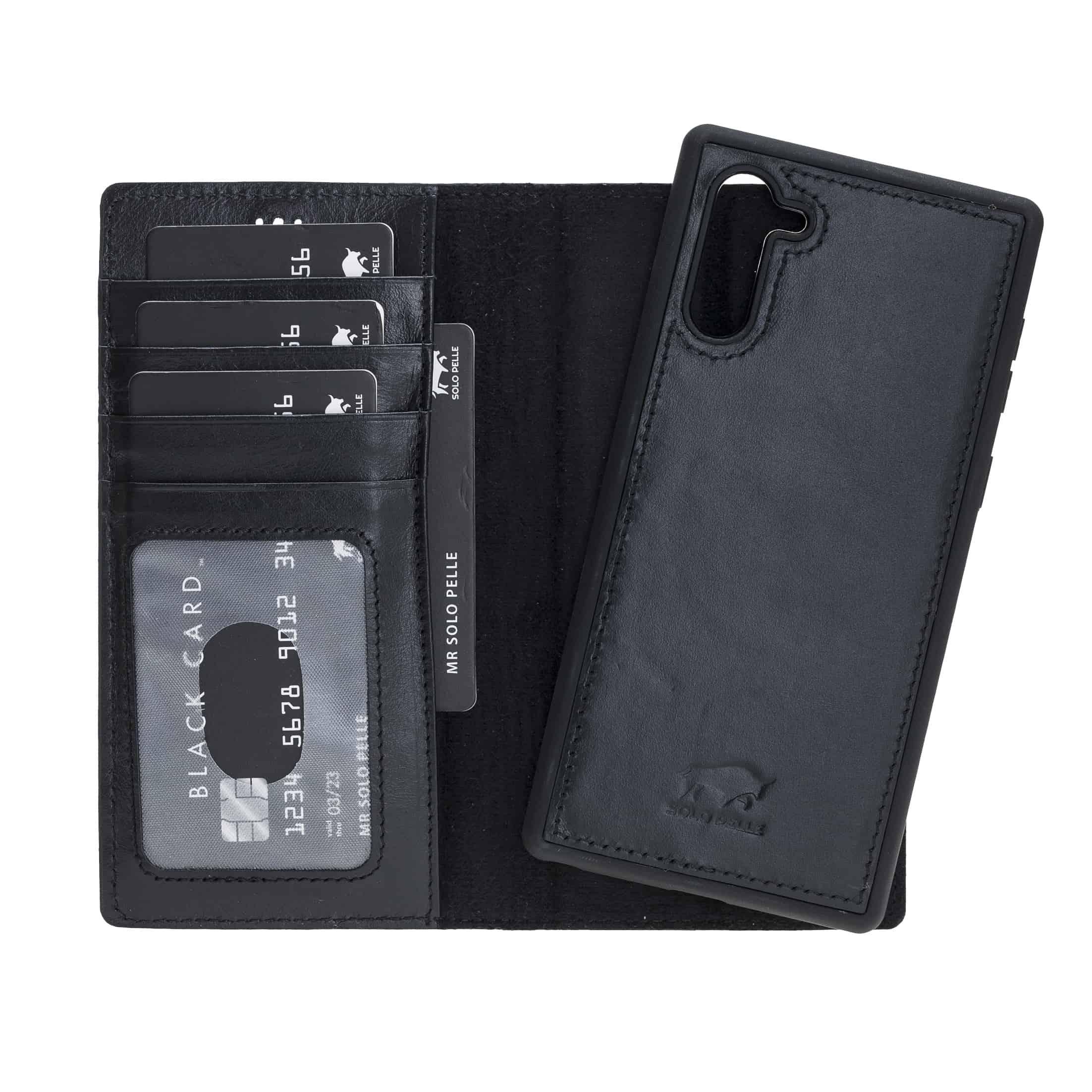 Solo Pelle Lederhülle Harvard kompatibel für das Samsung  Note 10 inklusive abnehmbare Hülle mit integrierten Kartenfächern (Schwarz)