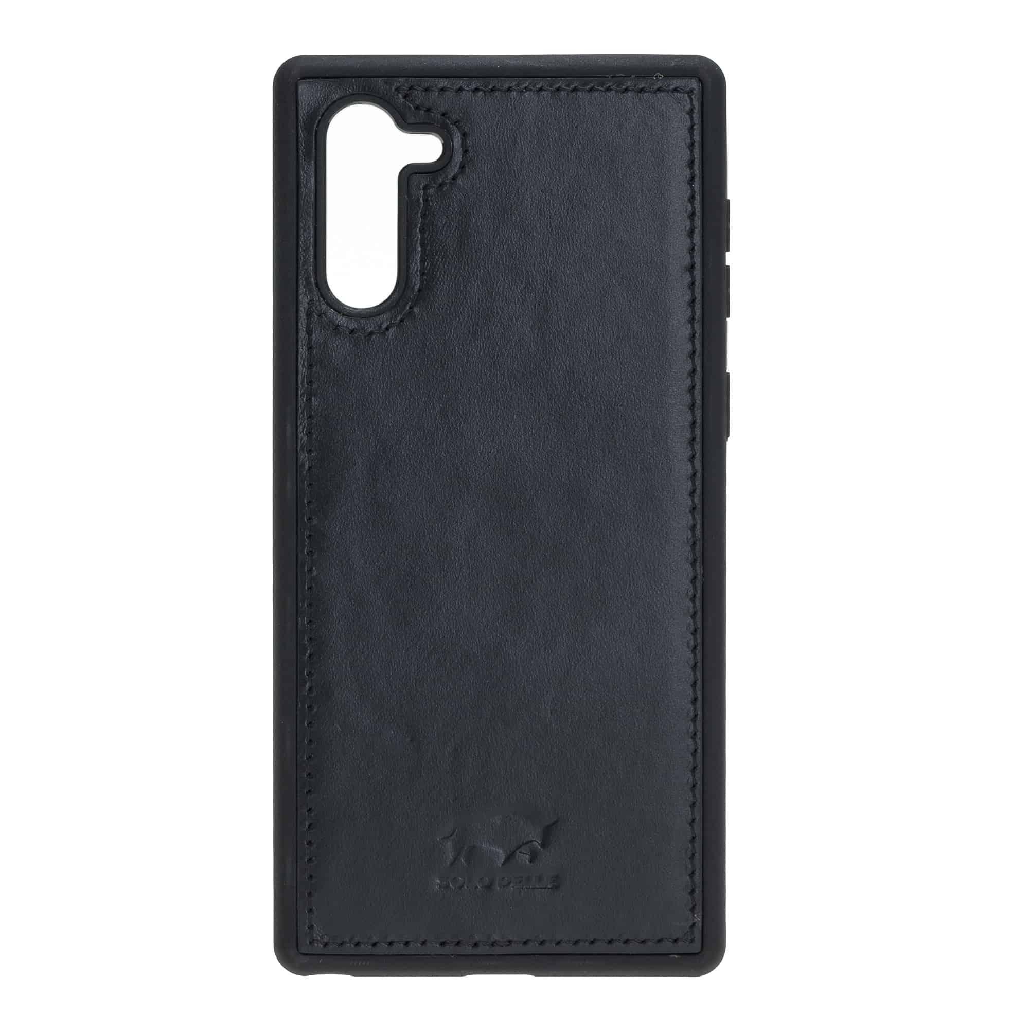 Solo Pelle Lederhülle Harvard kompatibel für das Samsung  Note10 inklusive abnehmbare Hülle mit integrierten Kartenfächern (Schwarz)