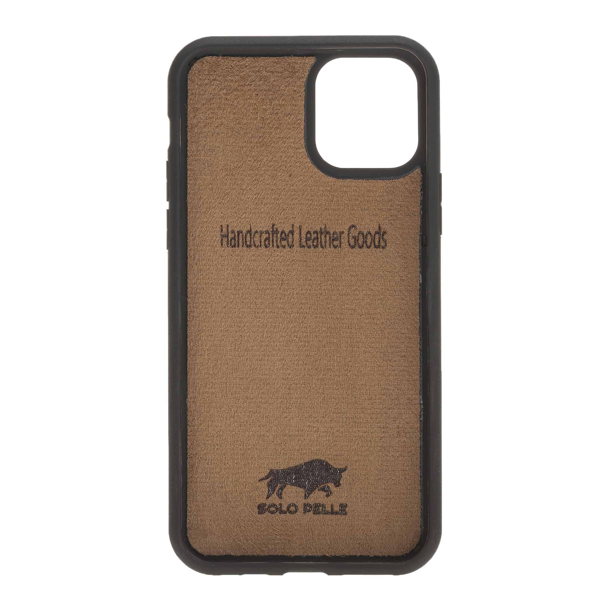 Solo Pelle Lederhülle für das iPhone 11 Pro in 5.8 Zoll Stanford Case Leder Hülle Ledertasche Backcover aus echtem Leder (Camel Braun)
