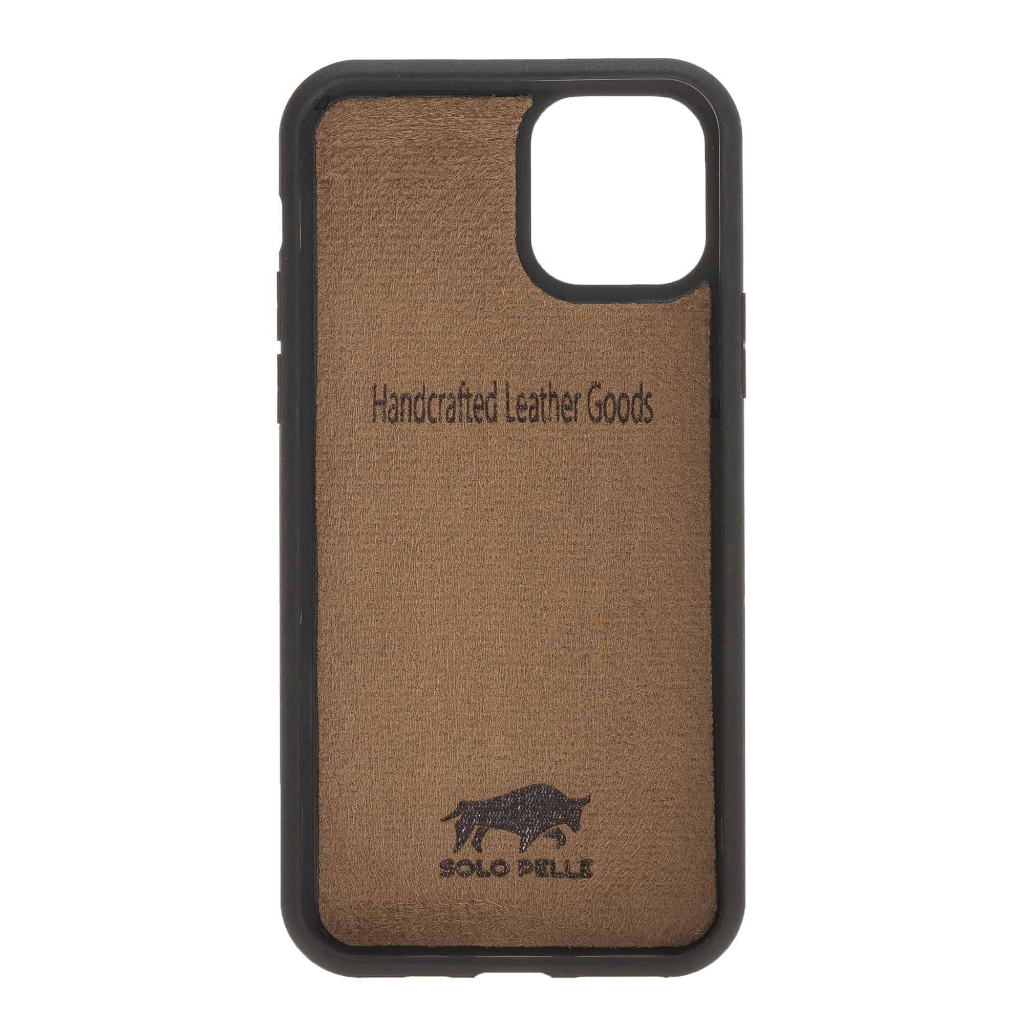 Solo Pelle Lederhülle für das iPhone 11 Pro in 5.8 Zoll Stanford Case Leder Hülle Ledertasche Backcover aus echtem Leder (Cognac Braun Burned)