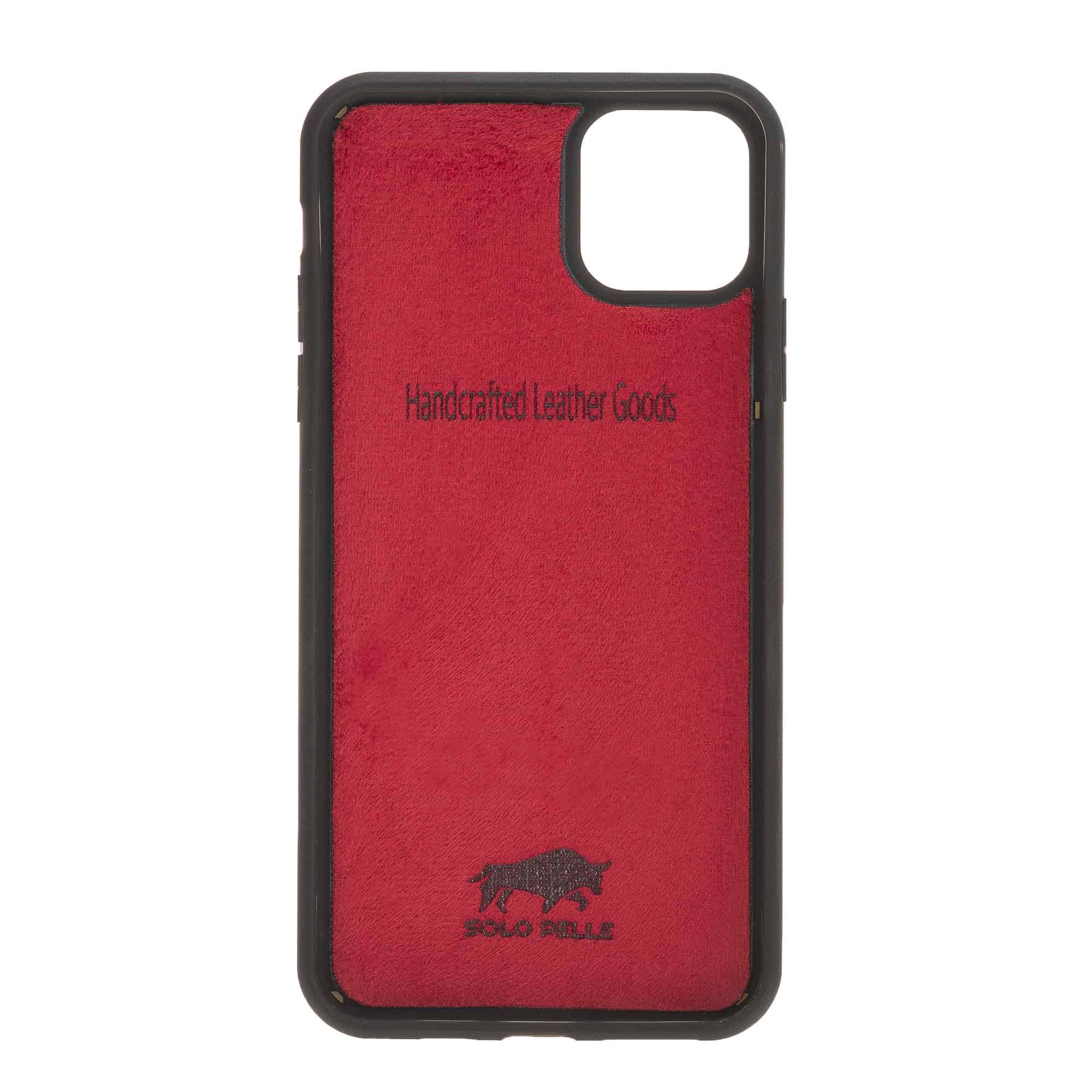 Solo Pelle Lederhülle für das iPhone 11 Pro (Max) 6.5 Zoll Stanford Case Leder Hülle Ledertasche Backcover aus echtem Leder (Rot Burned)