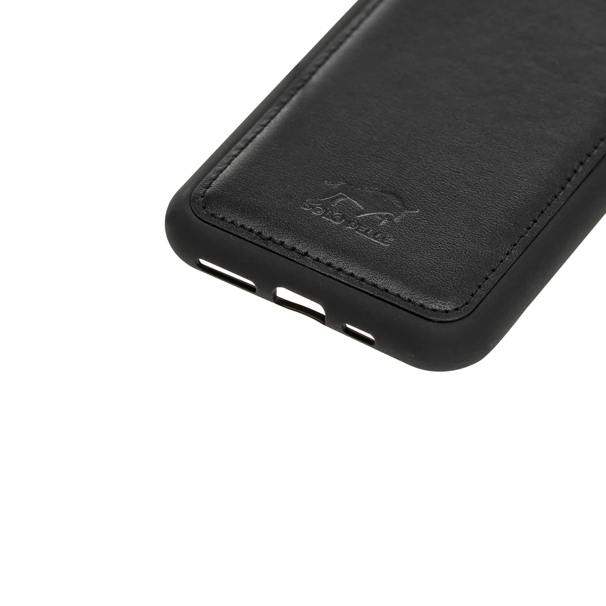 Solo Pelle Lederhülle für das iPhone 11 Pro in 5.8 Zoll Stanford Case Leder Hülle Ledertasche Backcover aus echtem Leder (Schwarz)