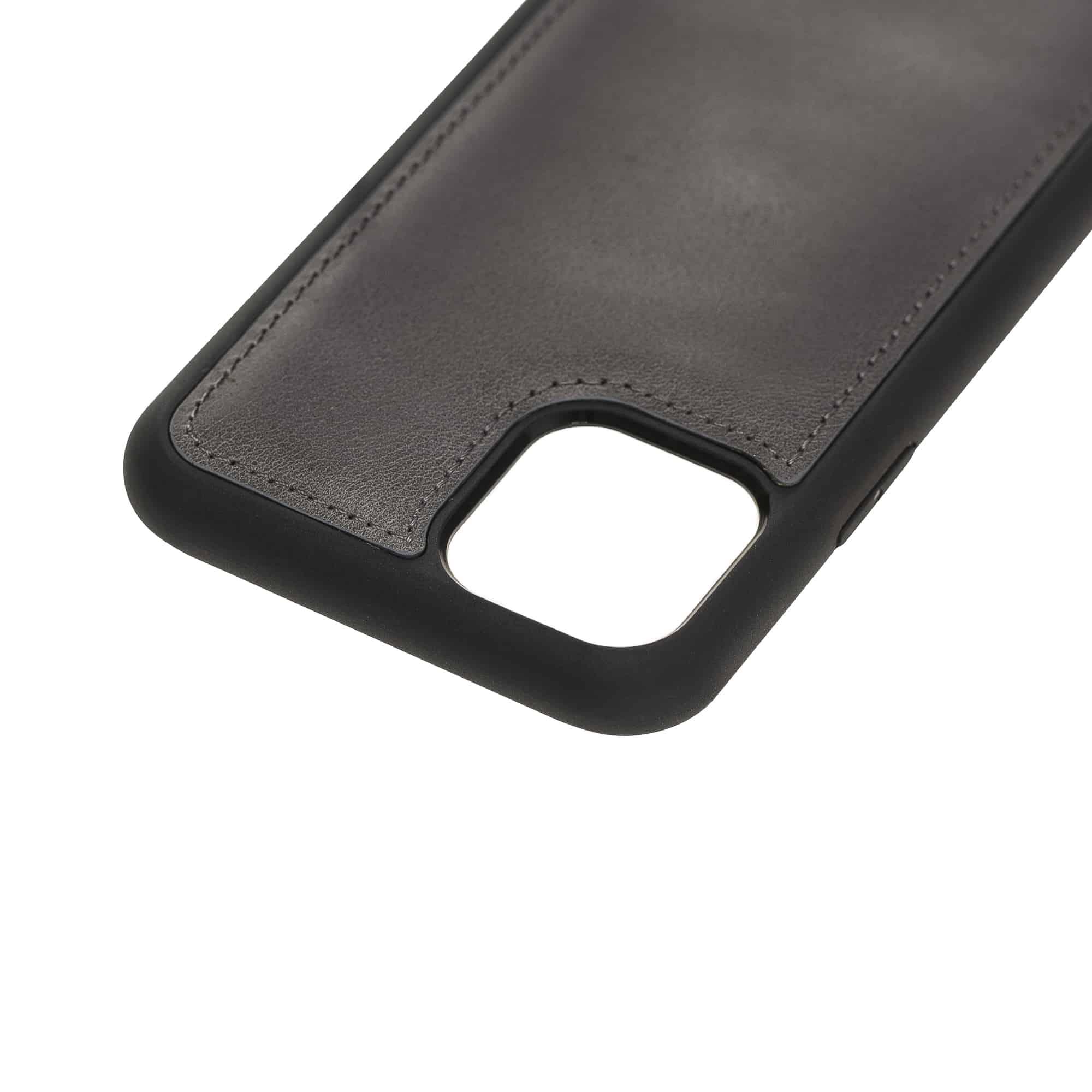 Solo Pelle Lederhülle für das iPhone 11 Pro in 5.8 Zoll Stanford Case Leder Hülle Ledertasche Backcover aus echtem Leder (Steingrau Burned)