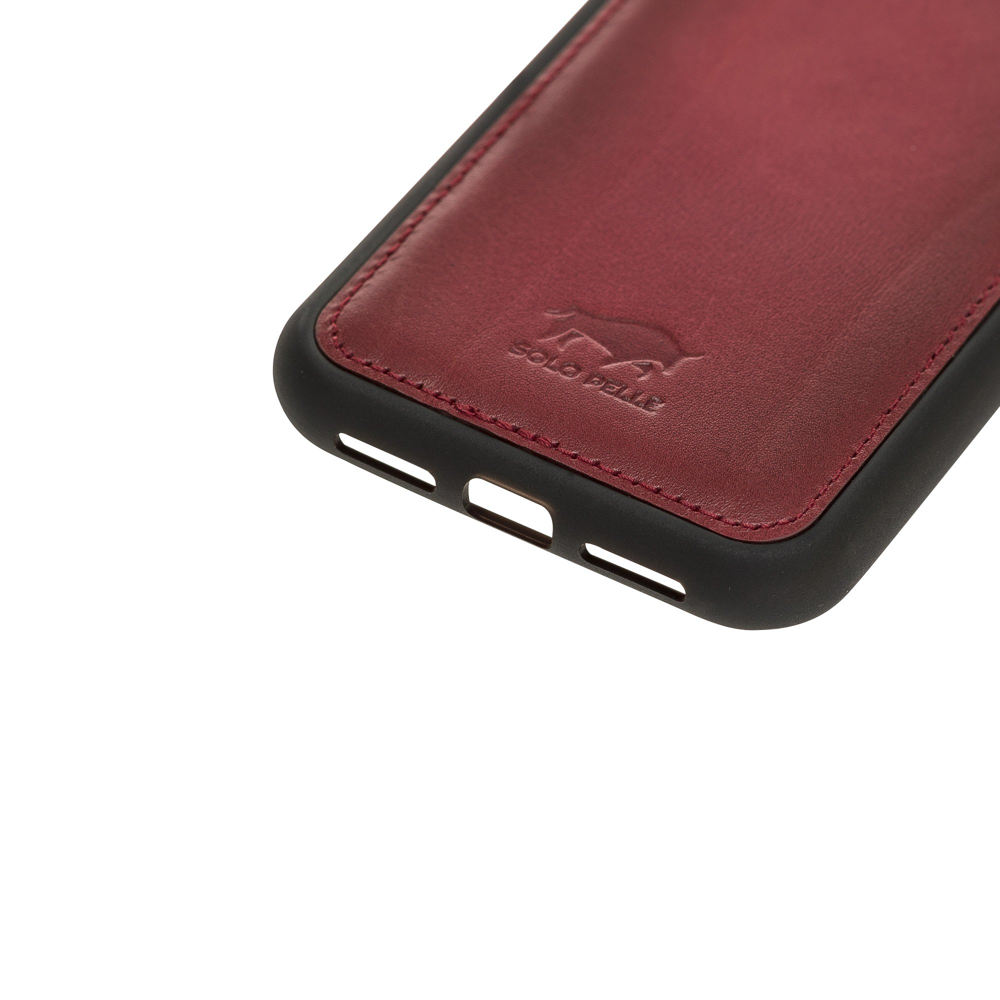 Solo Pelle Lederhülle für das iPhone 11 (XI) 6.1 Zoll Stanford Case Leder Hülle Ledertasche Backcover aus echtem Leder (Rot Burned)