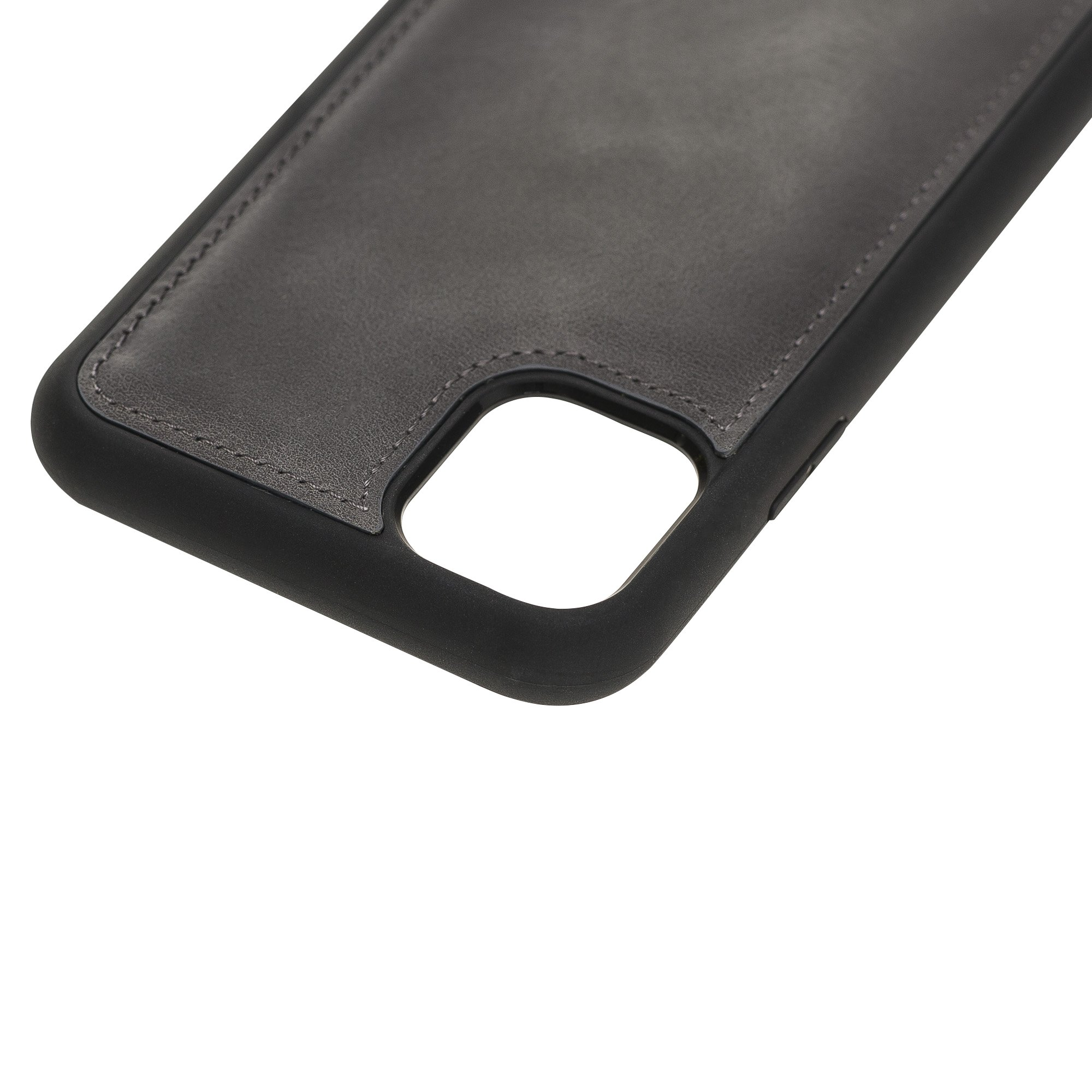 Solo Pelle Lederhülle für das iPhone 11 Pro (Max) 6.5 Zoll Stanford Case Leder Hülle Ledertasche Backcover aus echtem Leder (Steingrau Burned)