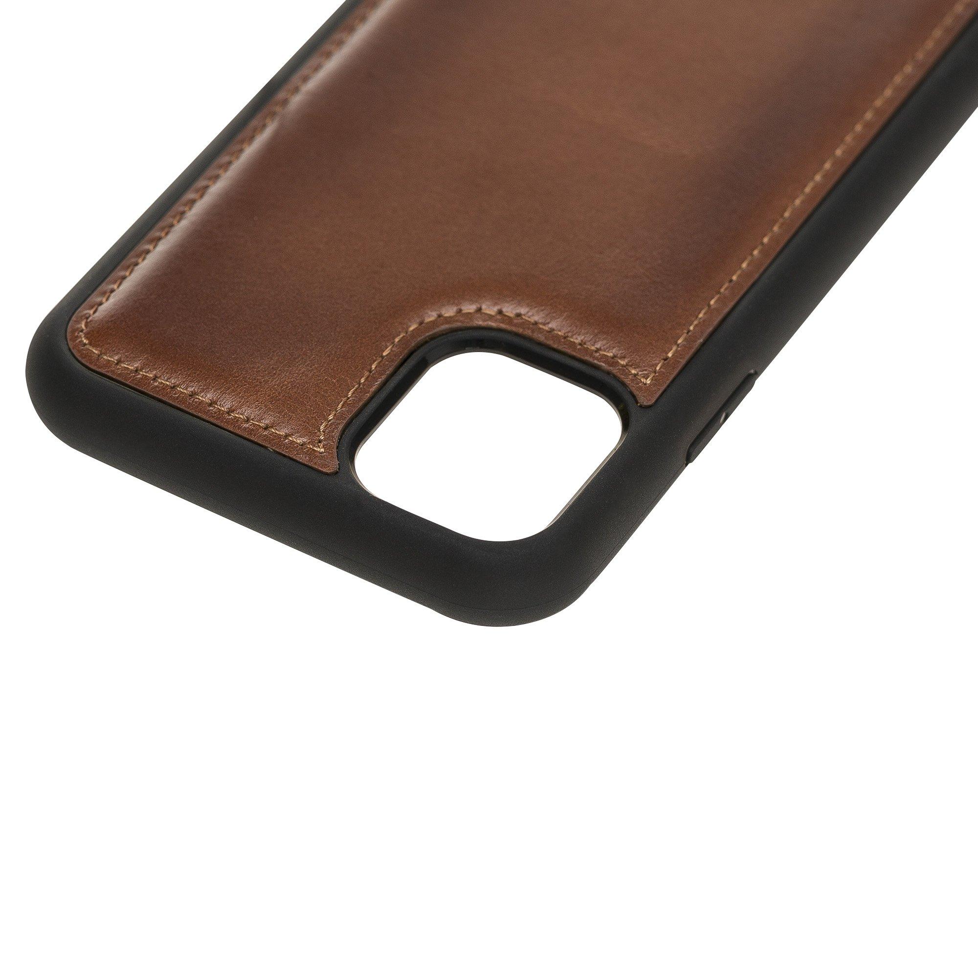 Solo Pelle Lederhülle für das iPhone 11 (XI) 6.1 Zoll Stanford Case Leder Hülle Ledertasche Backcover aus echtem Leder (Cognac Braun Burned)