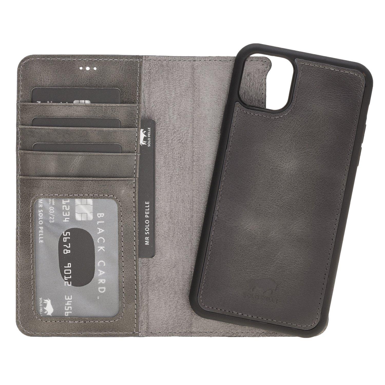 Solo Pelle Lederhülle kompatibel für iPhone 11 Pro Max 6.5 Zoll abnehmbare Hülle (2in1) inkl. Kartenfächer für das original Apple iPhone 11 Pro Max (Steingrau Burned)