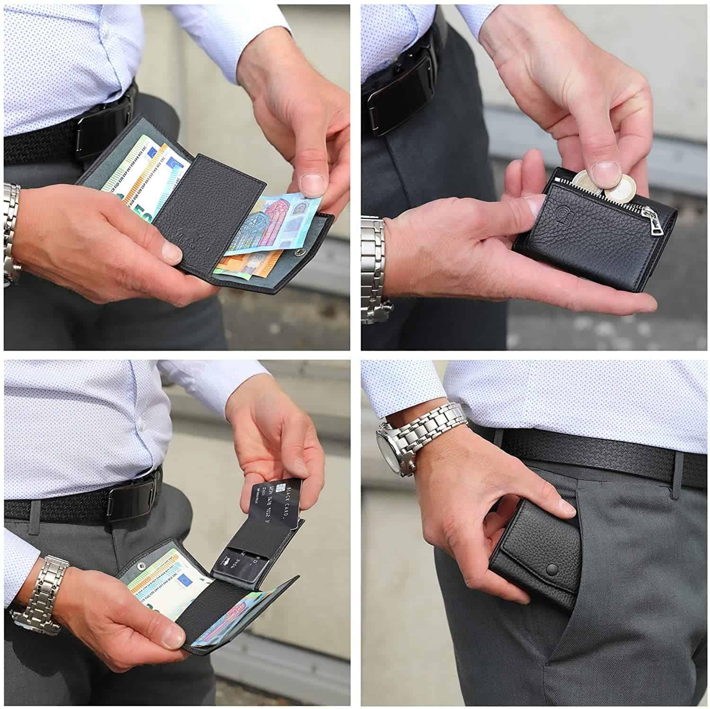 Solo Pelle® Leder I Slim Wallet mit Münzfach I Geldbeutel mit RFID Schutz I Platz für mindestens 12 Karten I Mini Portemonnaie für Herren und Damen I Geldbörse (Schwarz, mit Münzfach)