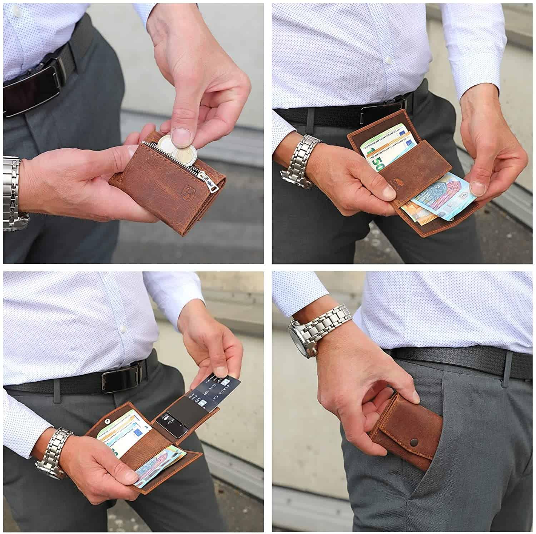 Solo Pelle® Leder I Slim Wallet mit Münzfach I Geldbeutel mit RFID Schutz I Platz für mindestens 12 Karten I Mini Portemonnaie für Herren und Damen I Geldbörse (Vintage Braun, mit Münzfach)