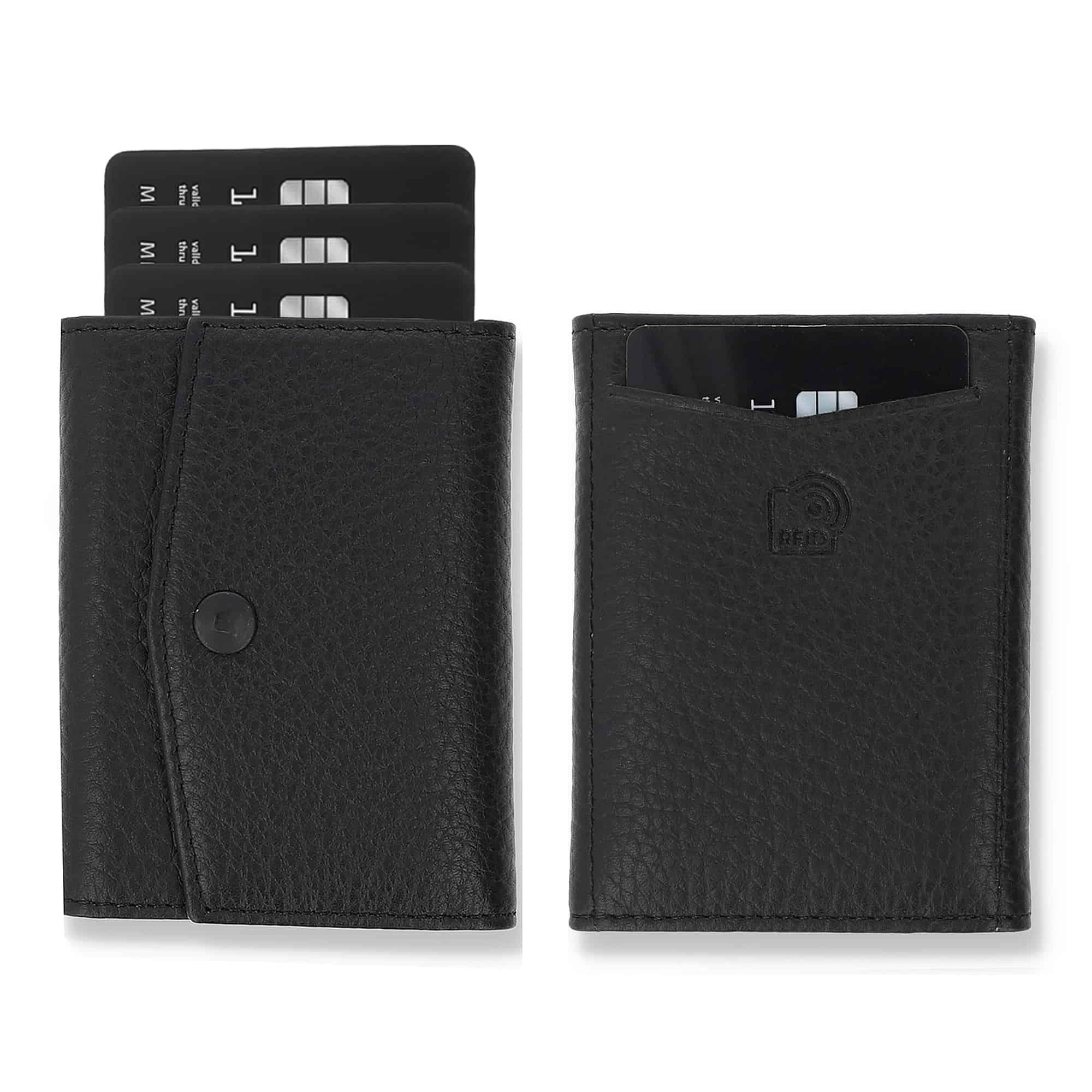 Slim Wallet mit Münzfach I Platz für mindestens 12 Karten I Mini Portemonnaie für Herren und Damen (Steingrau, mit Münzfach)