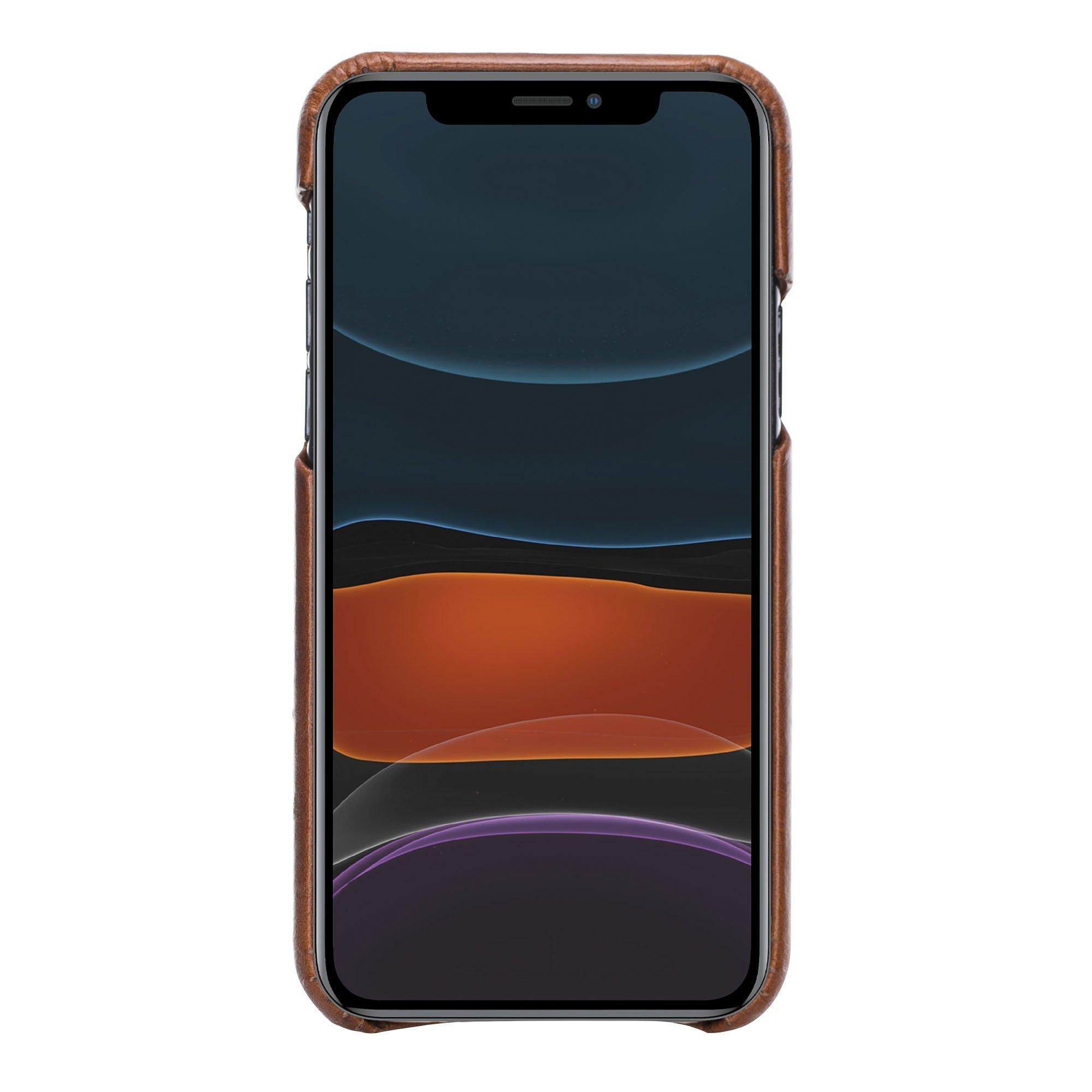 Lederhülle kompatibel für iPhone 11 Pro in 5.8 Zoll abnehmbare Hülle Clemson (2in1) inkl. Kartenfächer (Vollleder Steingrau)