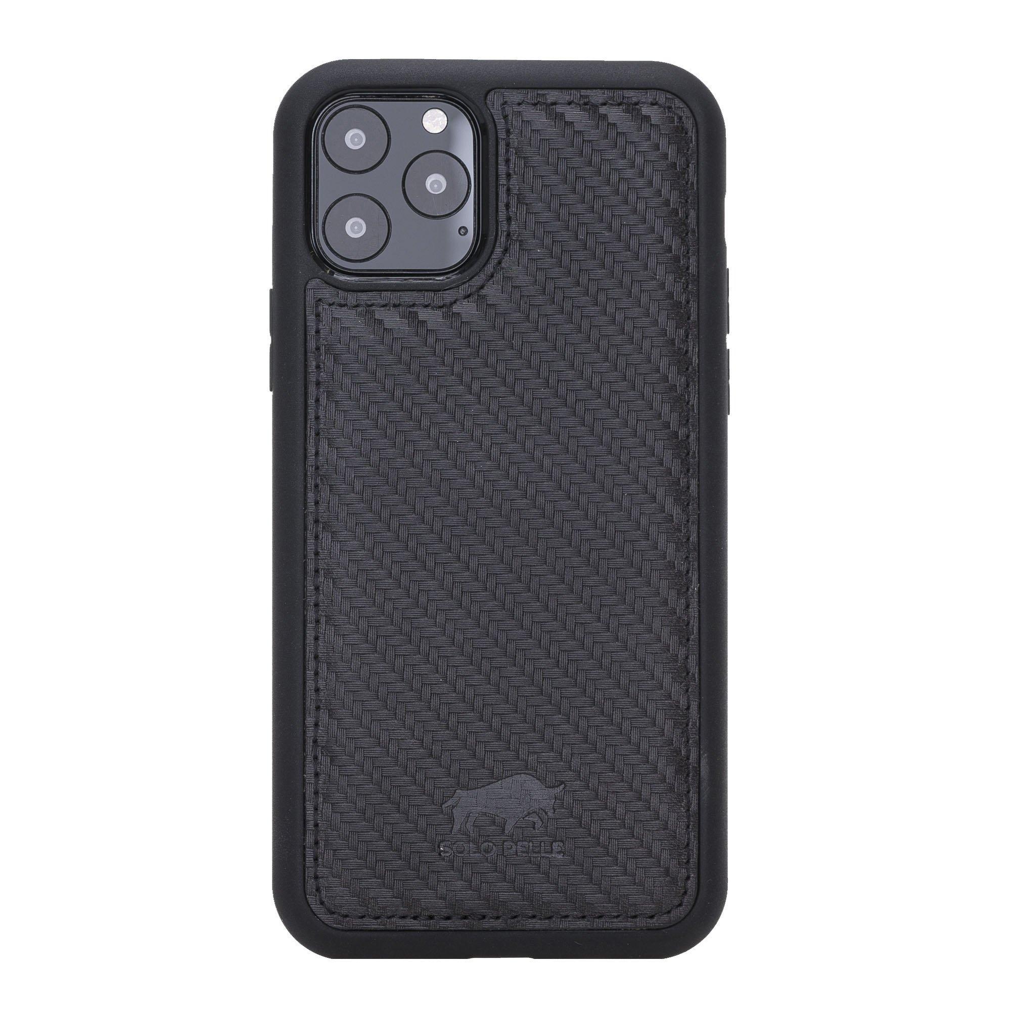 Solo Pelle Lederhülle für das iPhone 11 Pro in 5.8 Zoll Stanford (Carbonprägung)