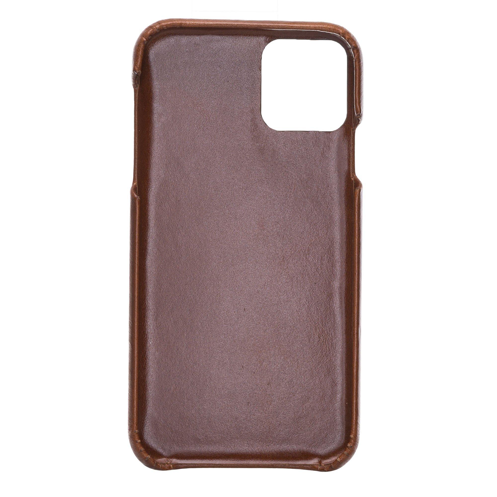 Lederhülle kompatibel für iPhone 11 in 6.1 Zoll abnehmbare Hülle (2in1) inkl. Kartenfächer (Vollleder Camelbraun)