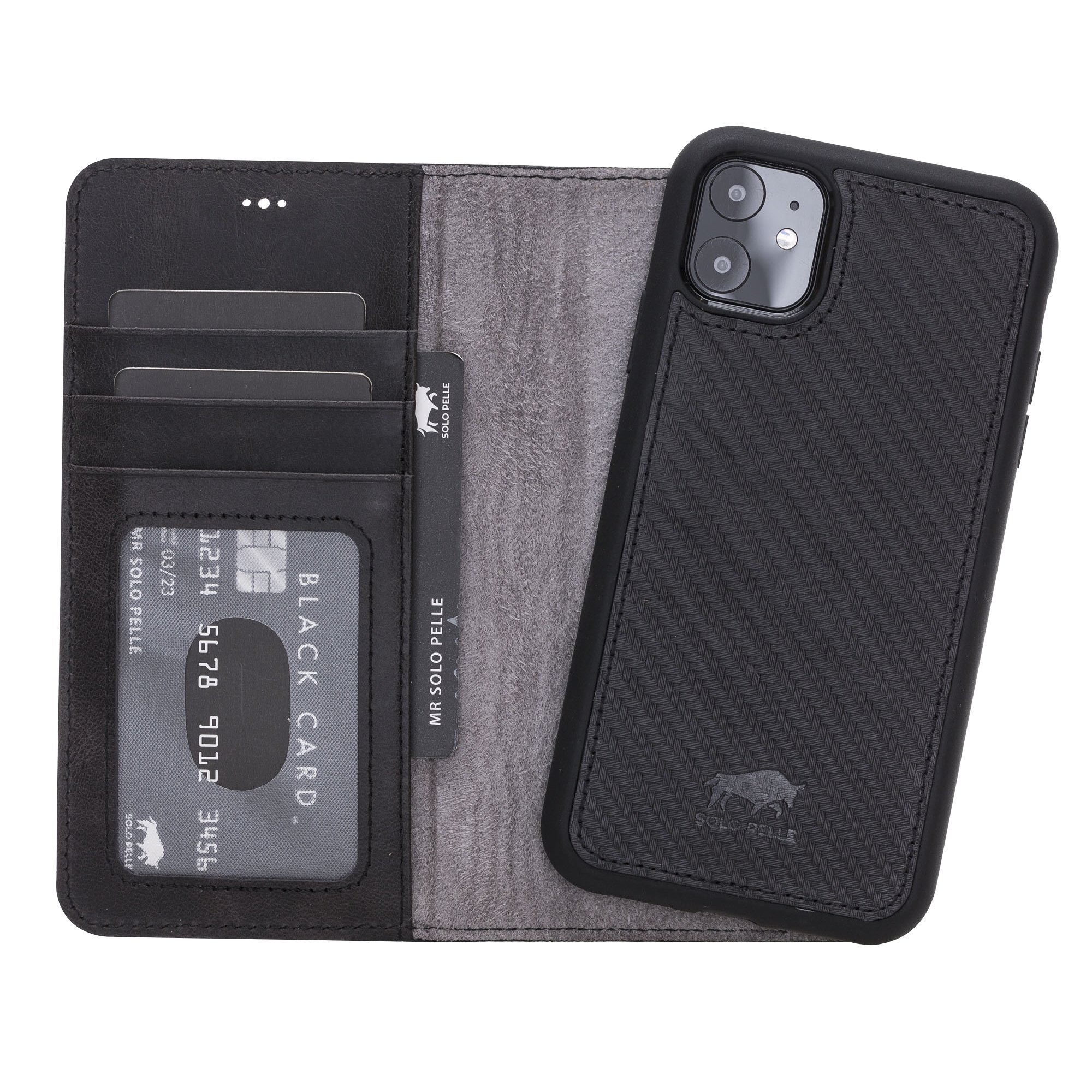 Solo Pelle Lederhülle kompatibel für iPhone 11 in 6.1 Zoll abnehmbare Hülle (2in1) (Carbonprägung Leder)