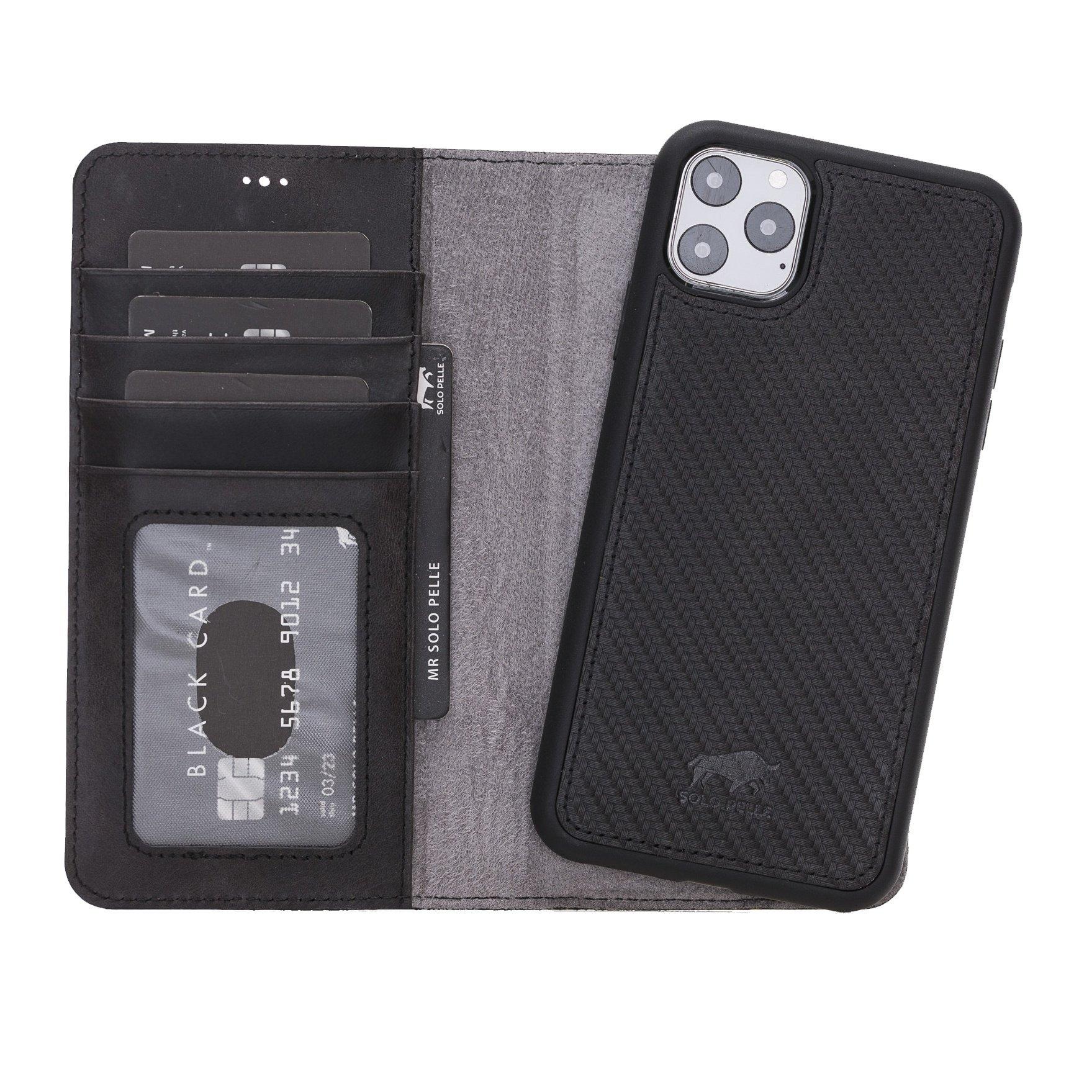 Solo Pelle Lederhülle kompatibel für iPhone 11 Pro Max 6.5 Zoll abnehmbare Hülle (2in1) (Carbonprägung Leder)