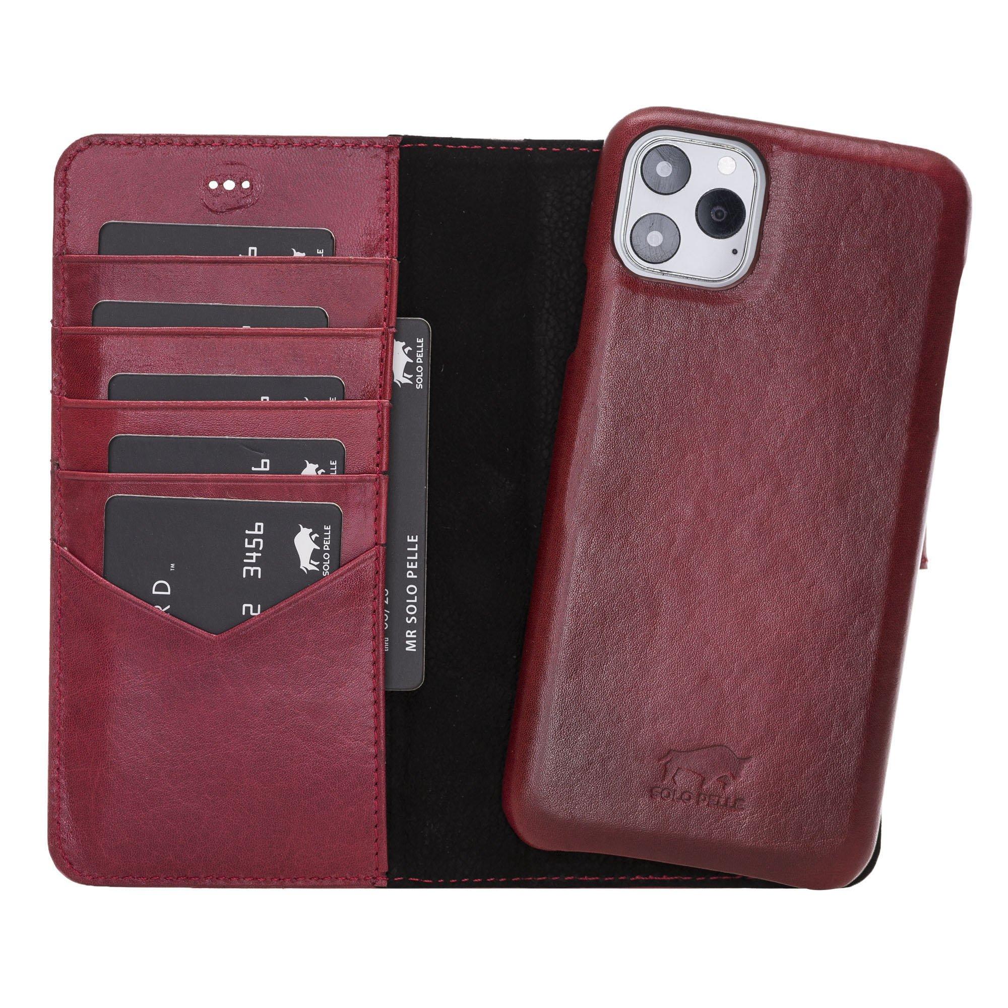 Lederhülle kompatibel für iPhone 11 Pro Max 6.5 Zoll abnehmbare Hülle (2in1) inkl. Kartenfächer (Vollleder Rot Burned)