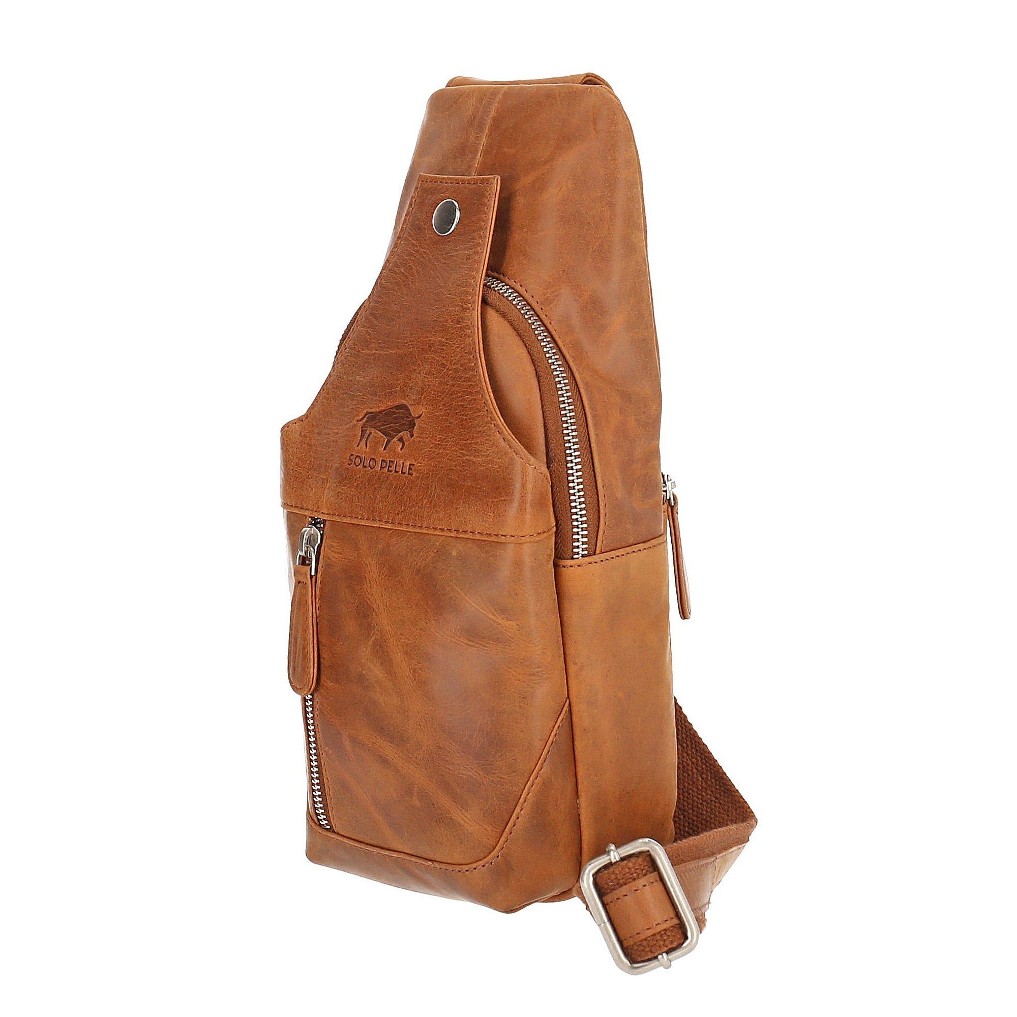 Solo Pelle Businesstasche aus echtem Leder passen für Apple MacBook bis 13,3 Zoll (Vintage Cognac Braun)