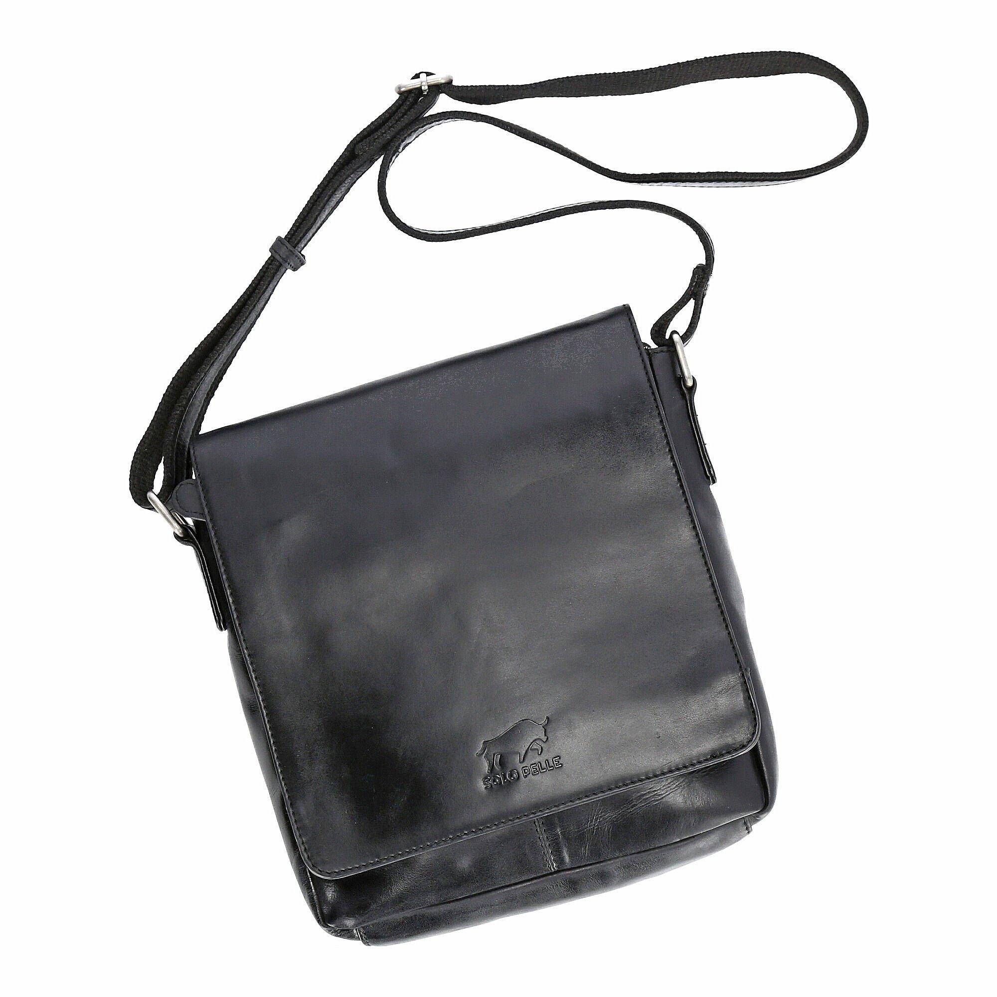 Solo Pelle Messenger Tasche I Schultertasche I Umhängetasche aus echtem Leder Model: Ervin (Vintage Schwarz)