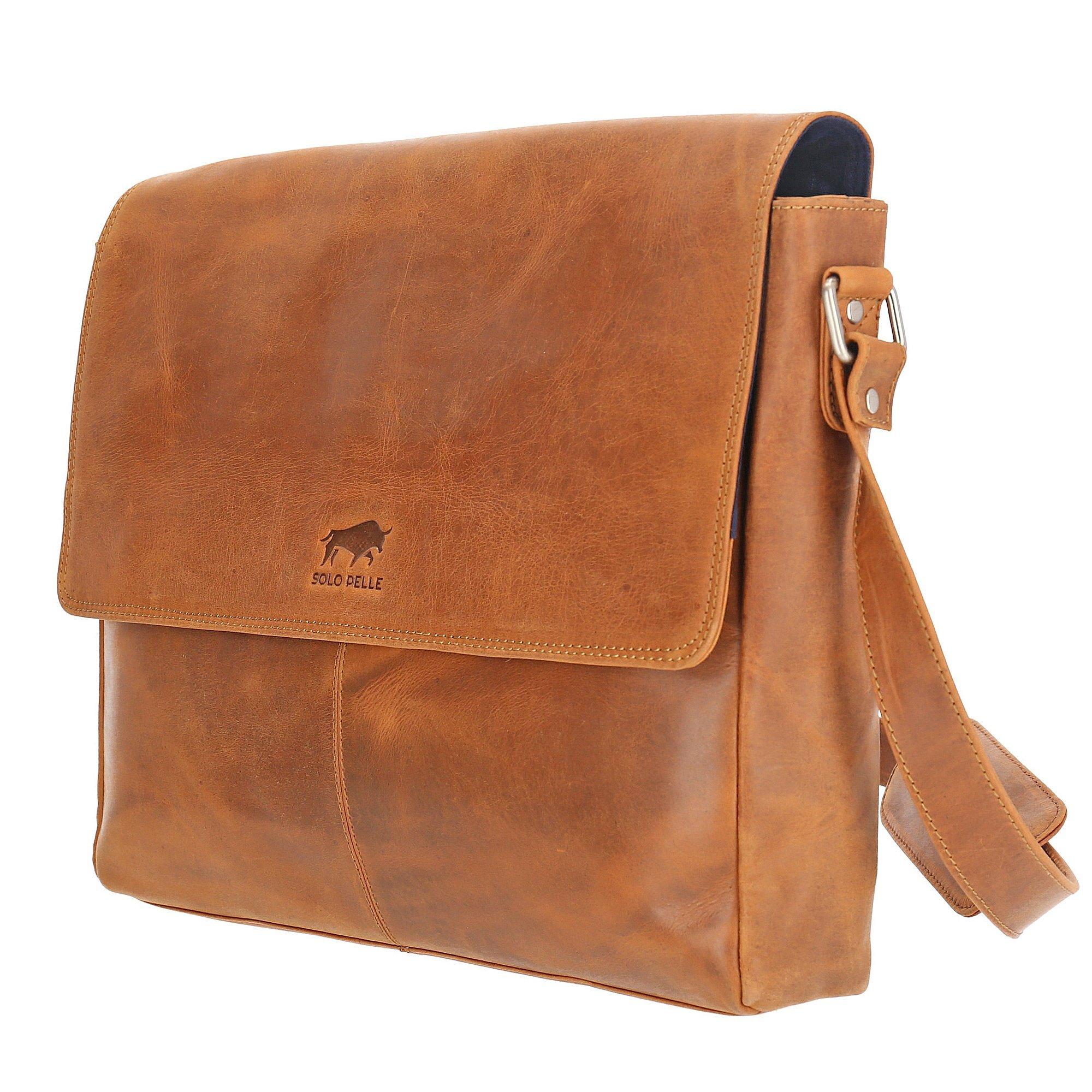 Solo Pelle Business Messenger Tasche aus echtem Leder Model: Henry 15 Zoll (Navy Blau)